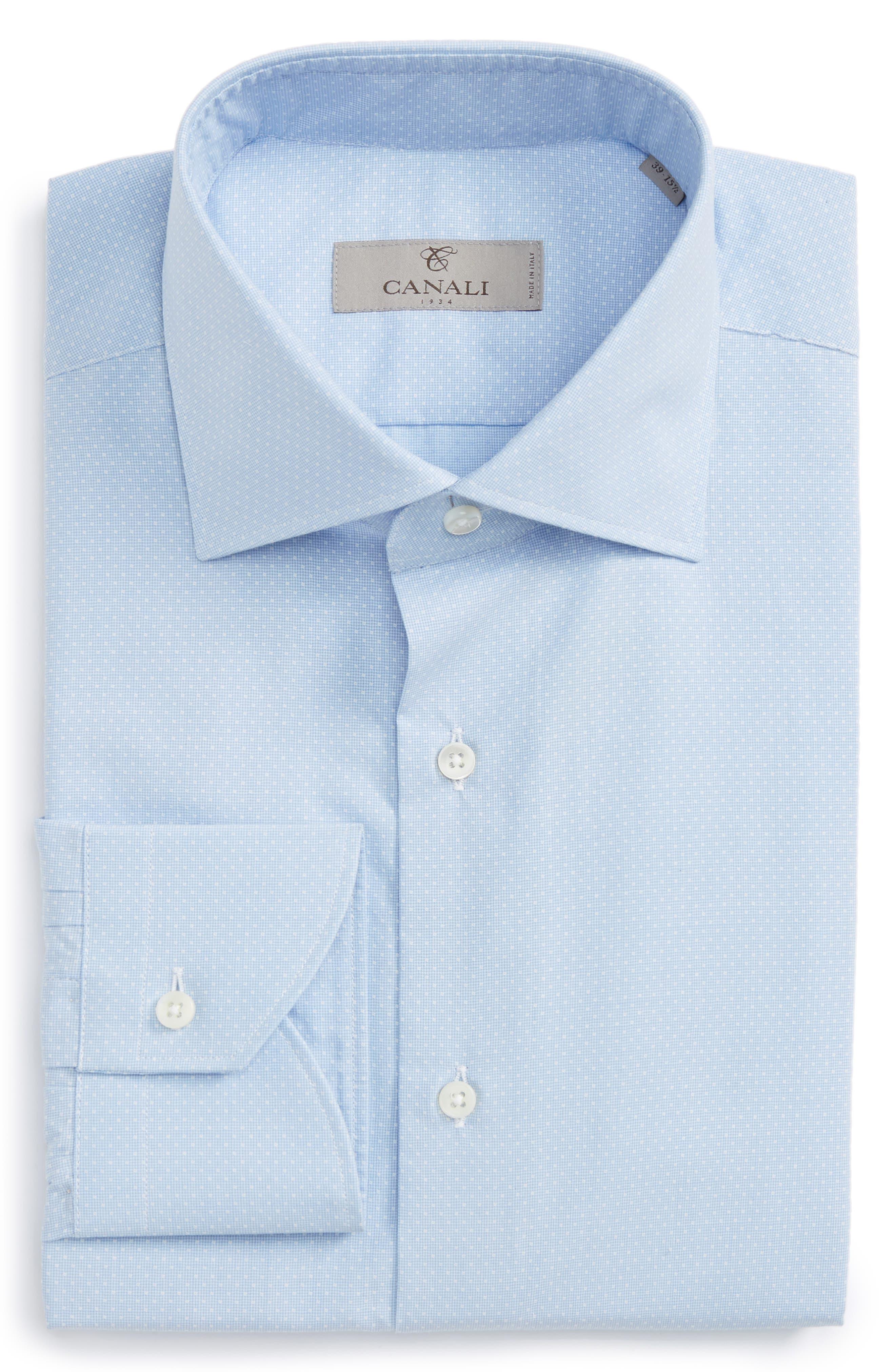 Regular Fit Check Dress Shirt,                             Main thumbnail 1, color,                             Light Blue