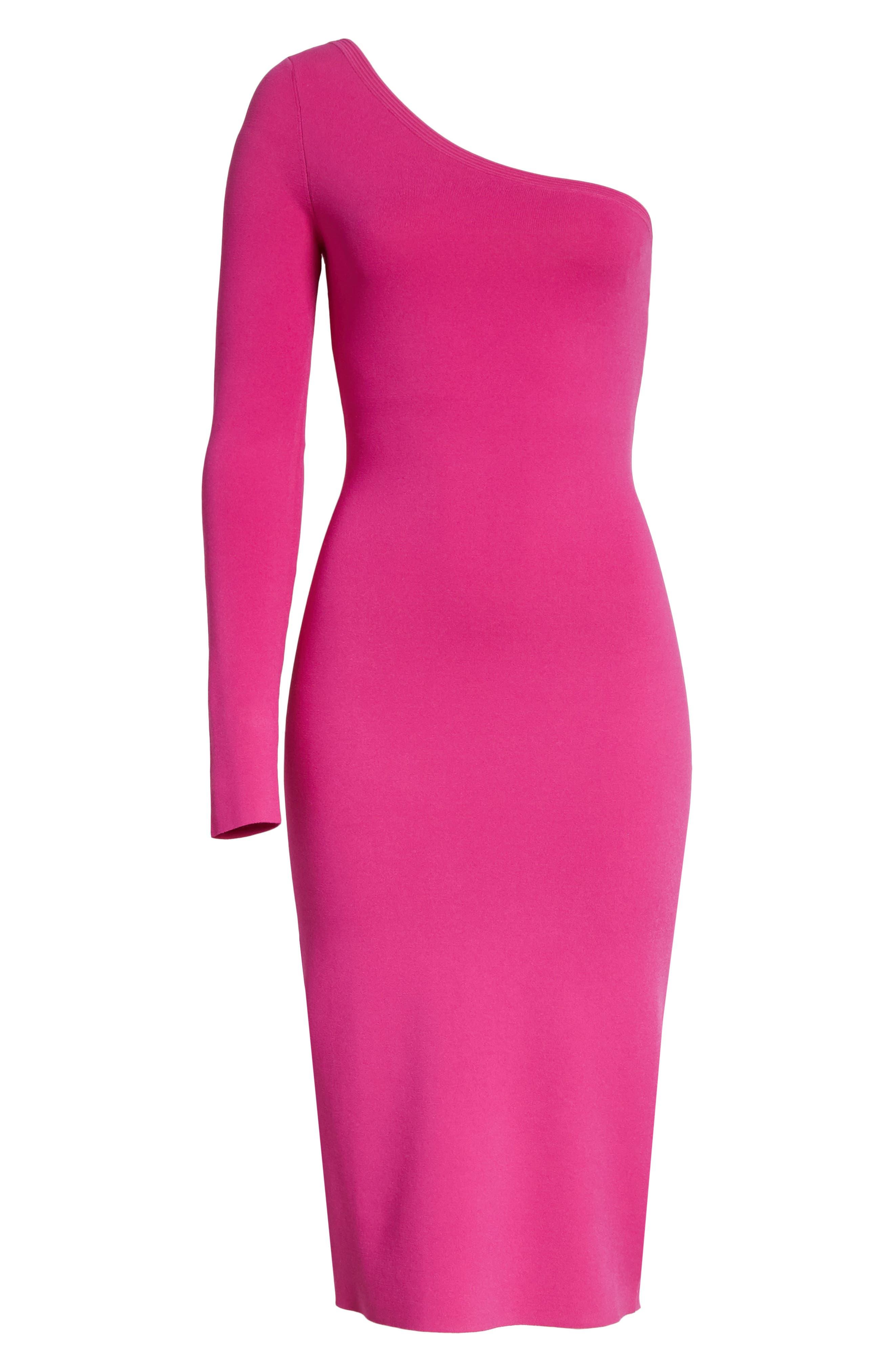 Diane von Furstenberg Knit One-Shoulder Midi Dress,                             Alternate thumbnail 6, color,                             Ribbon Pink