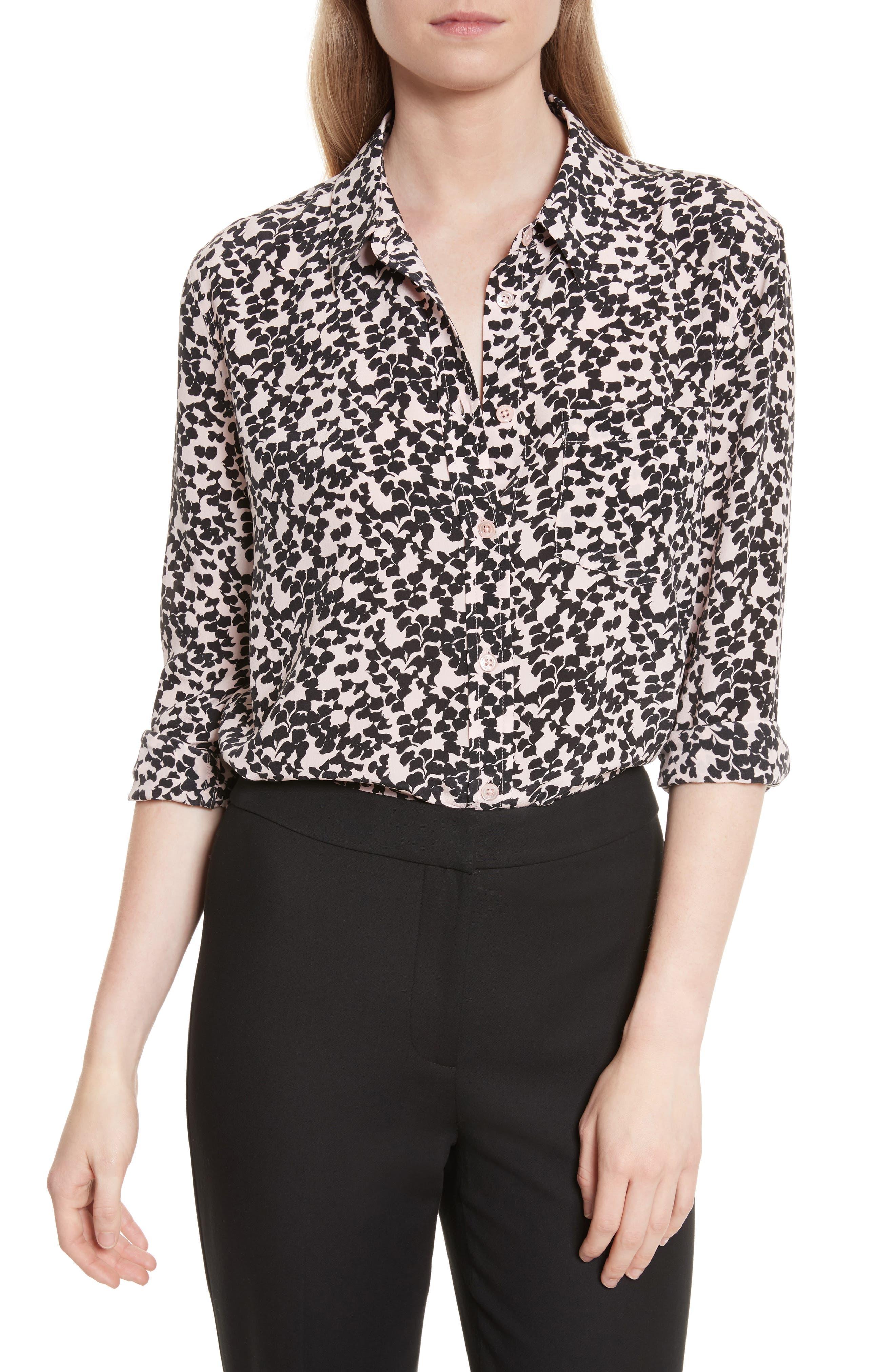 Reese Print Silk Shirt,                         Main,                         color, Cosmetic Pink/ True B