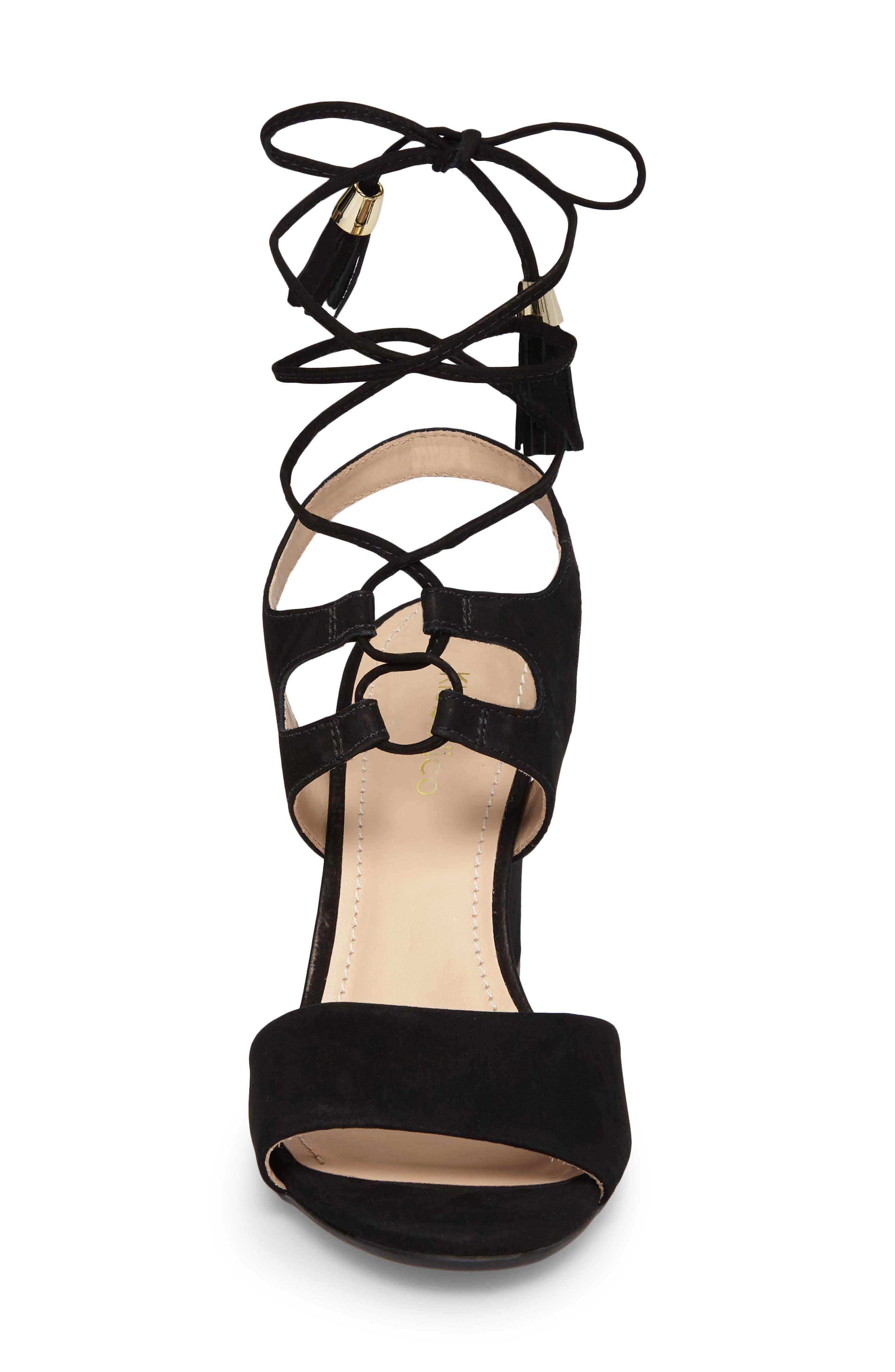 Kaira Ankle Wrap Sandal,                             Alternate thumbnail 4, color,                             Black Nubuck Leather