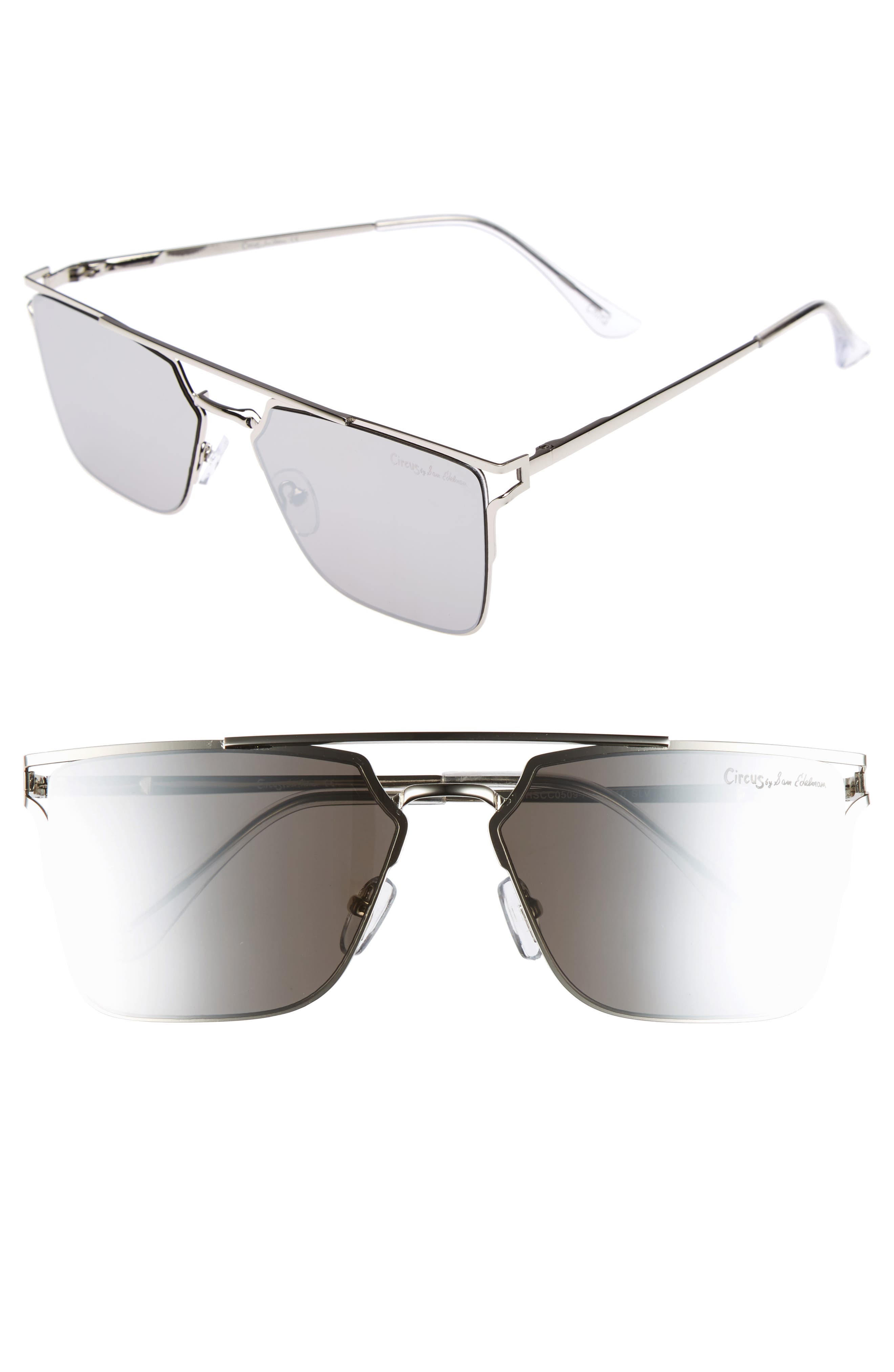 56mm Flat Top Sunglasses,                         Main,                         color, Silver