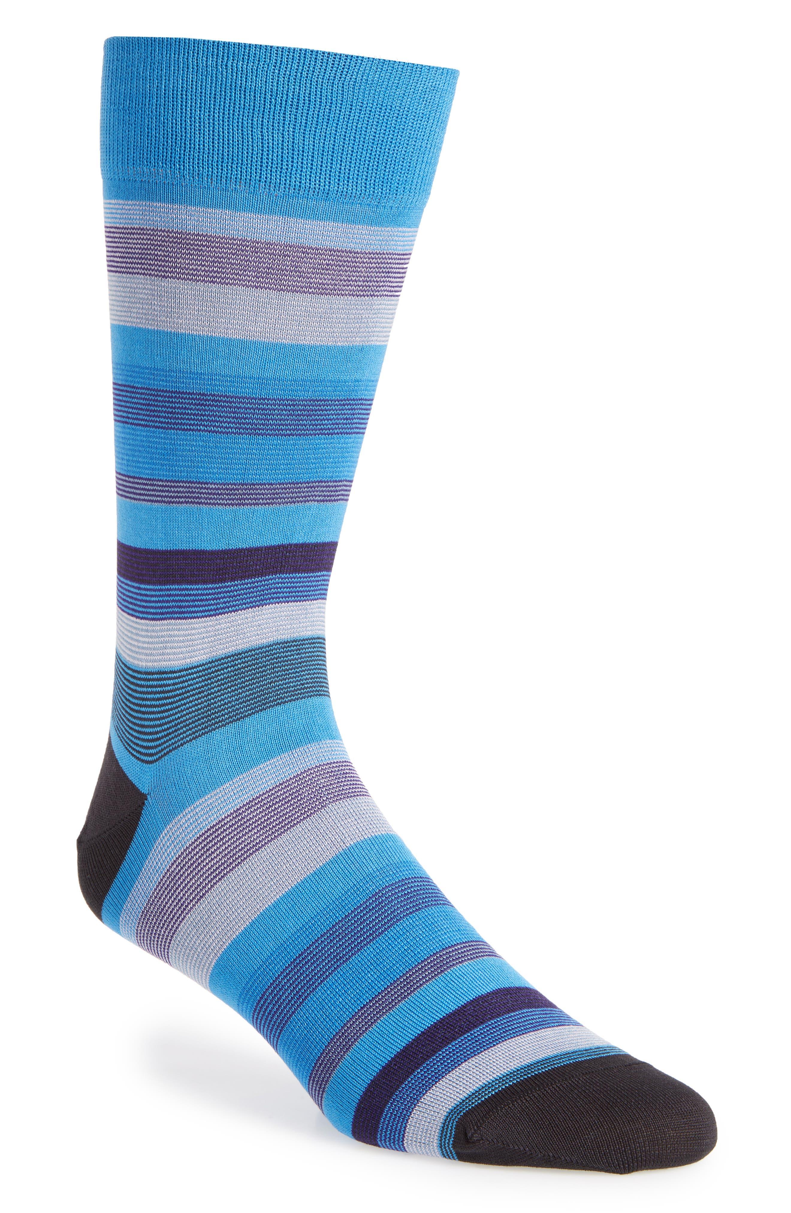 Stripe Crew Socks,                         Main,                         color, Aqua