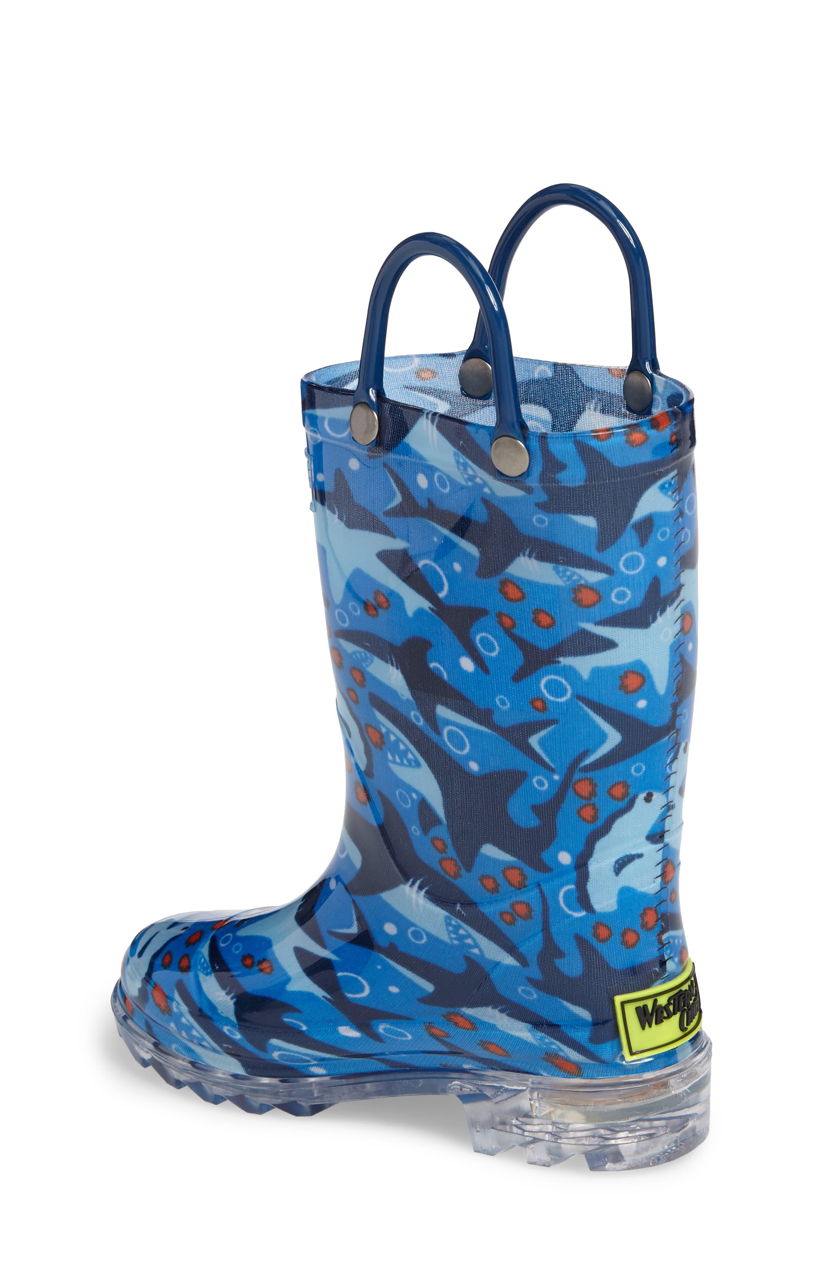 Alternate Image 2  - Western Chief Shark Chase Light-Up Rain Boot (Toddler & Little Kid)