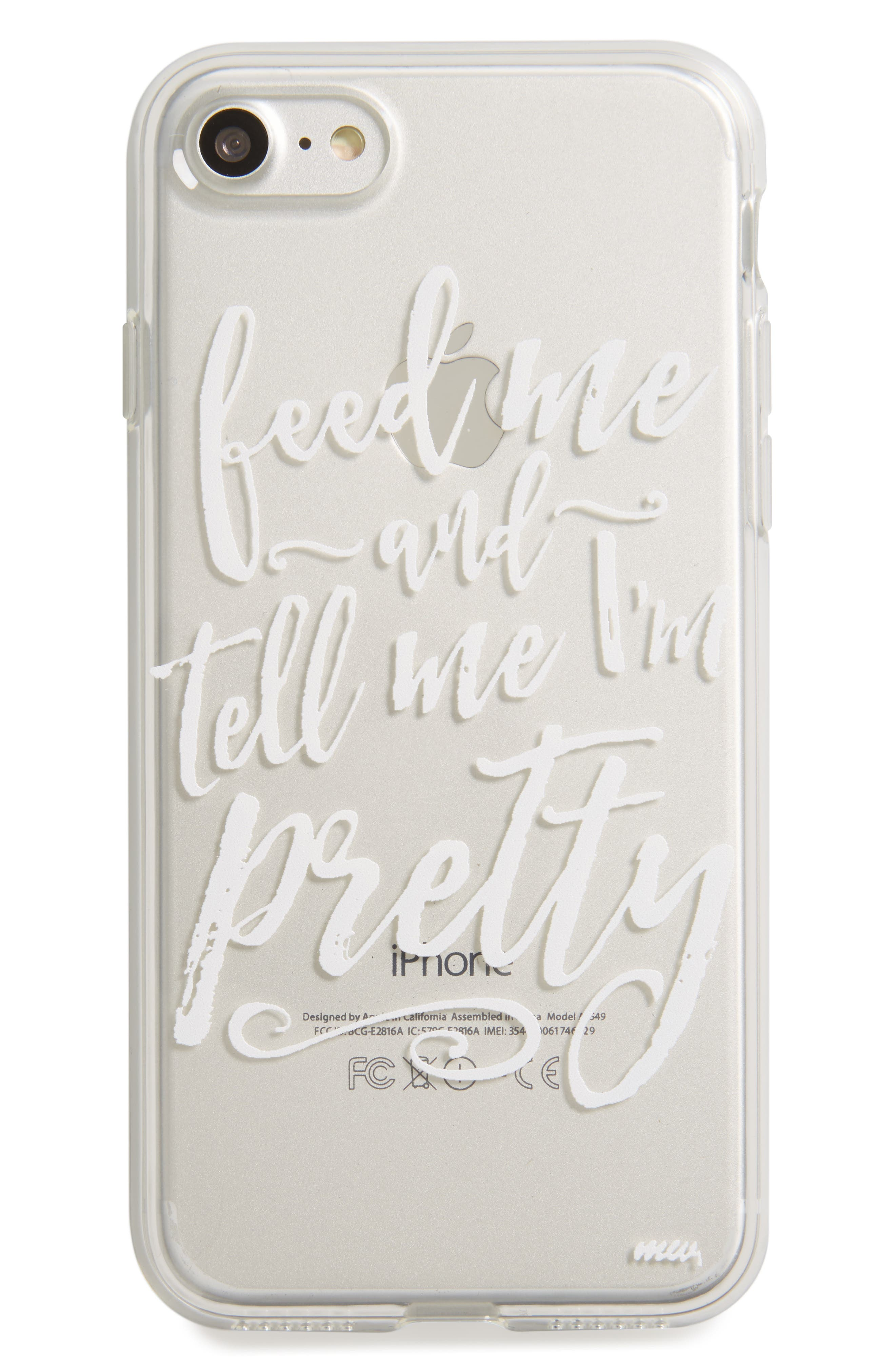 Feed Me iPhone 7 Case,                         Main,                         color, Black/ White