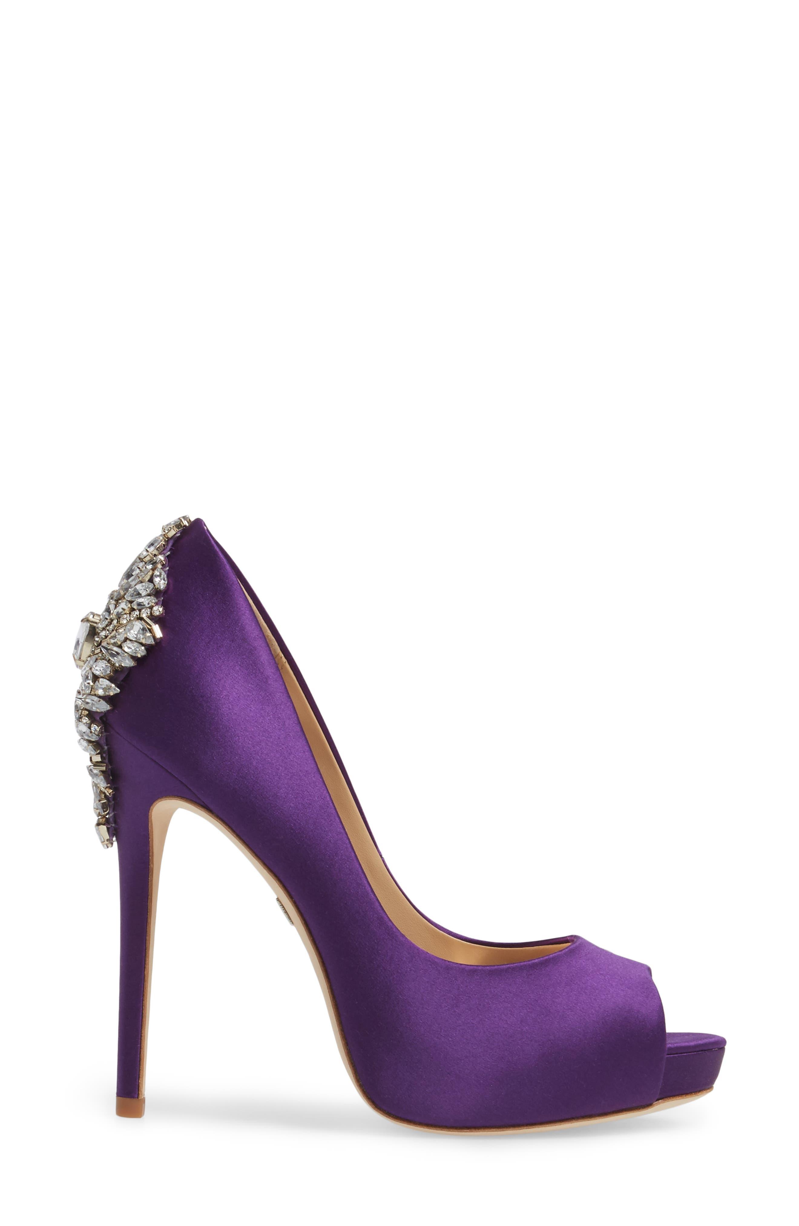 'Kiara' Crystal Back Open Toe Pump,                             Alternate thumbnail 3, color,                             Purple Satin