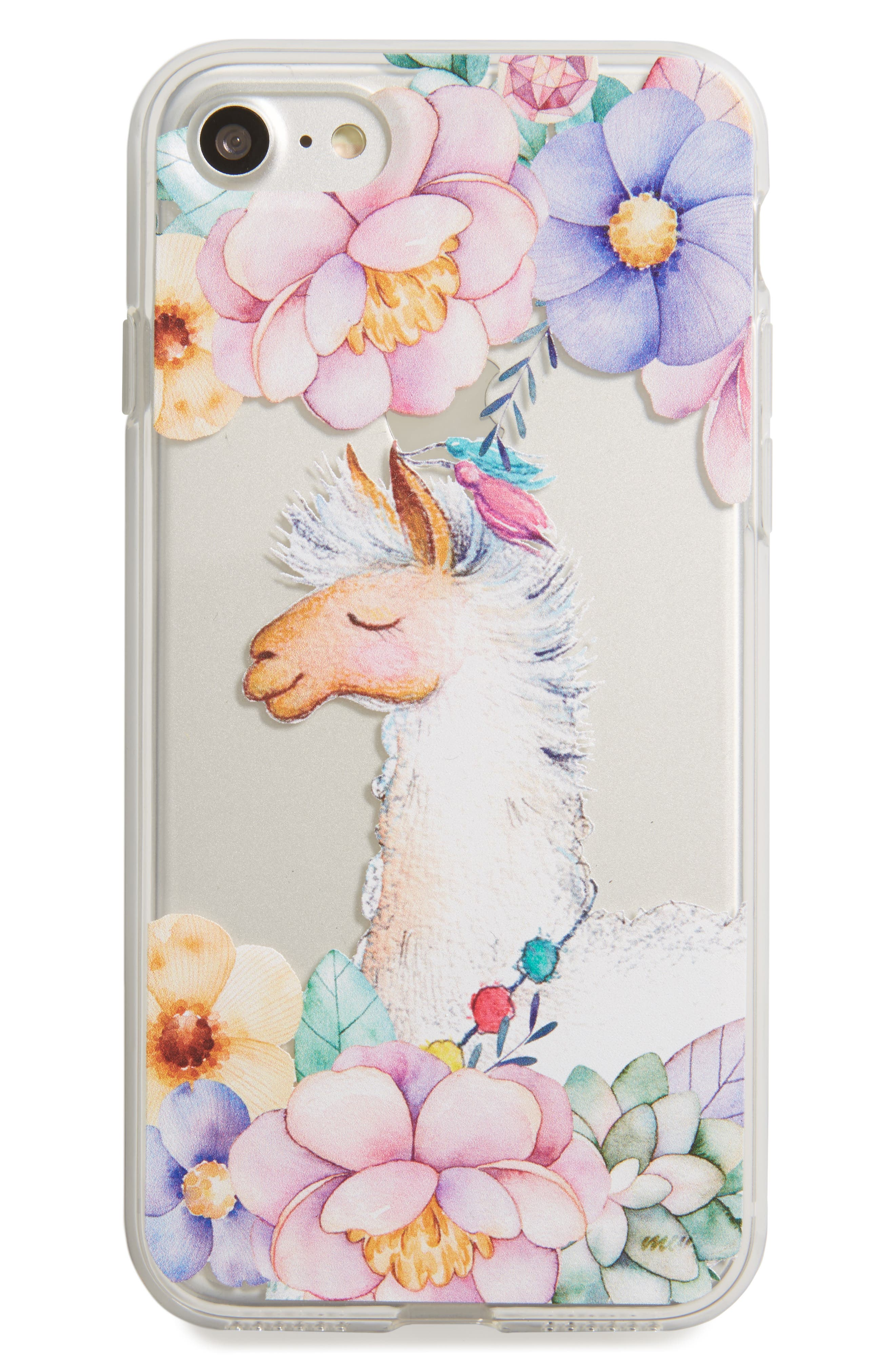 Llama iPhone 7 Case,                             Main thumbnail 1, color,                             Clear/ White