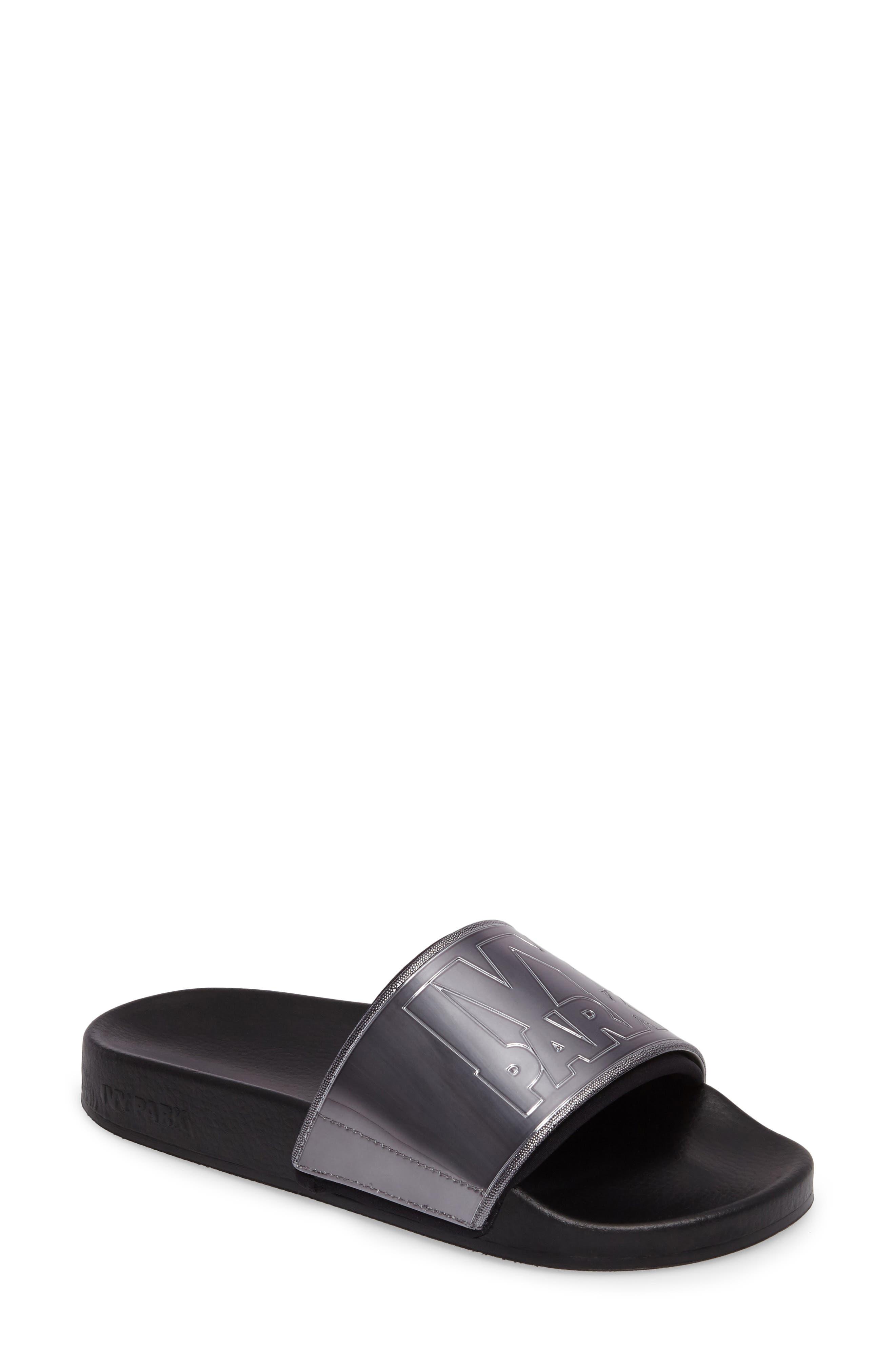 Neoprene Lined Logo Slide Sandal,                         Main,                         color, Gunmetal