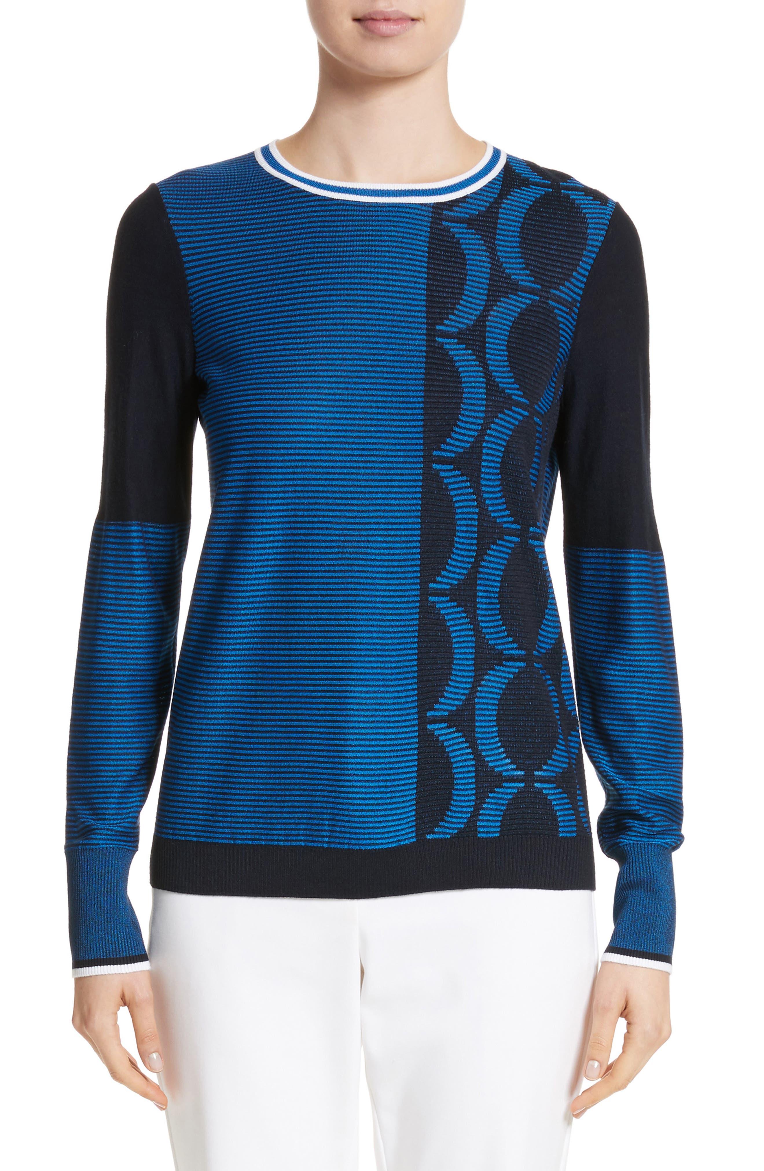 Jacquard Knit Sweater,                         Main,                         color, Navy/ Niagara/ Bianco