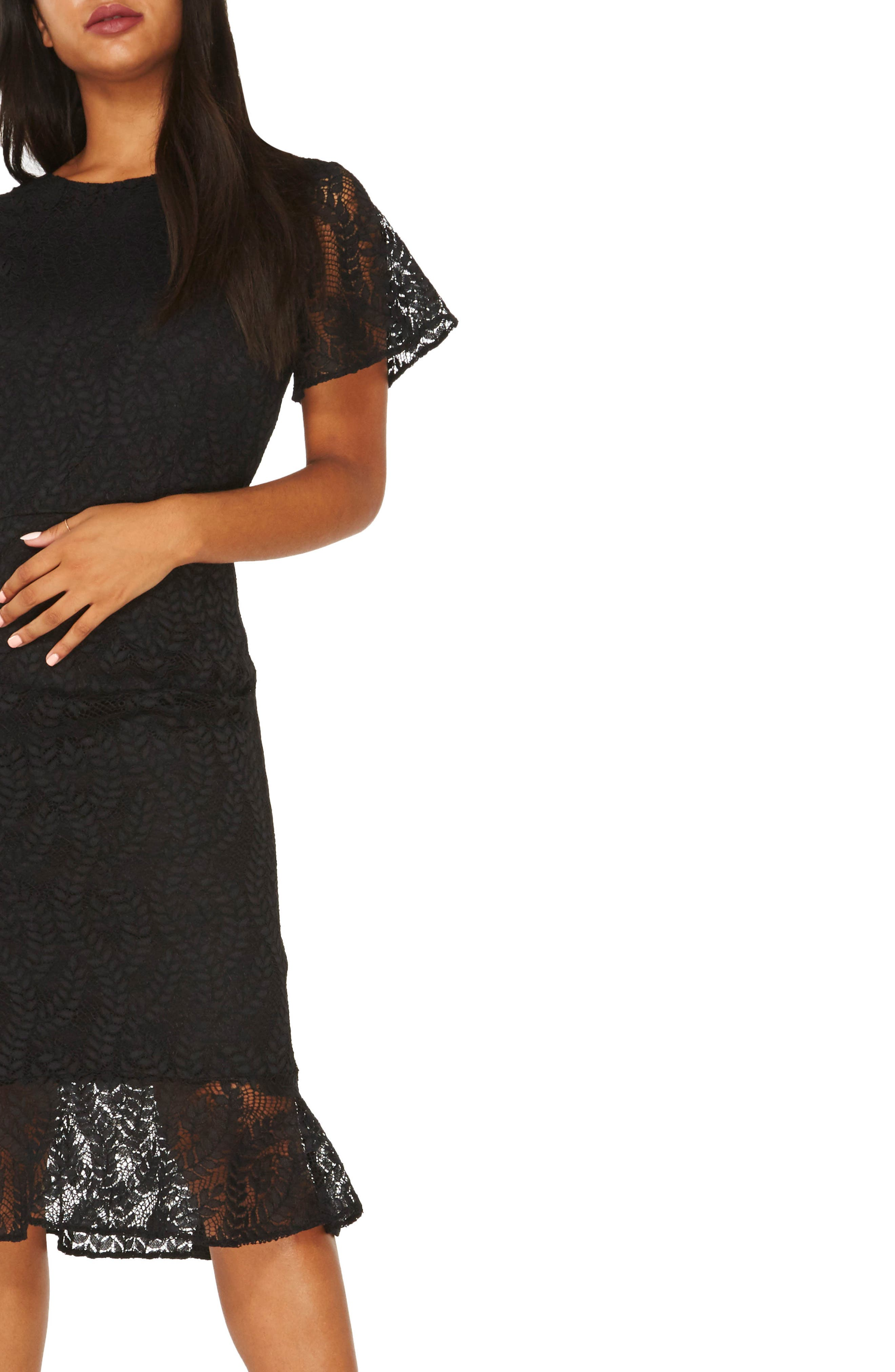 Lace Body-Con Dress,                             Alternate thumbnail 3, color,                             Black