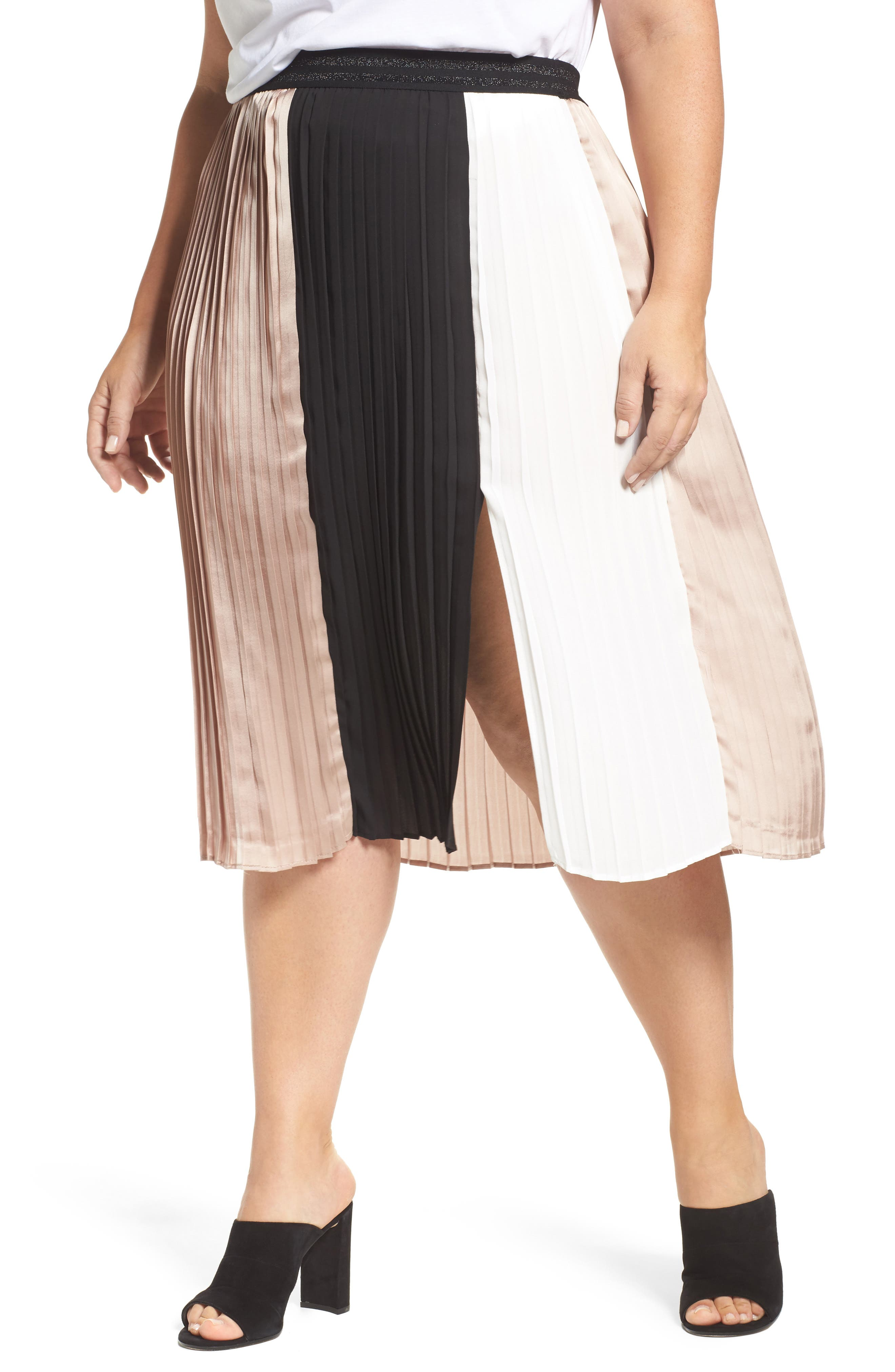 Colorblock Pleat Skirt,                         Main,                         color, Black/ Ivory