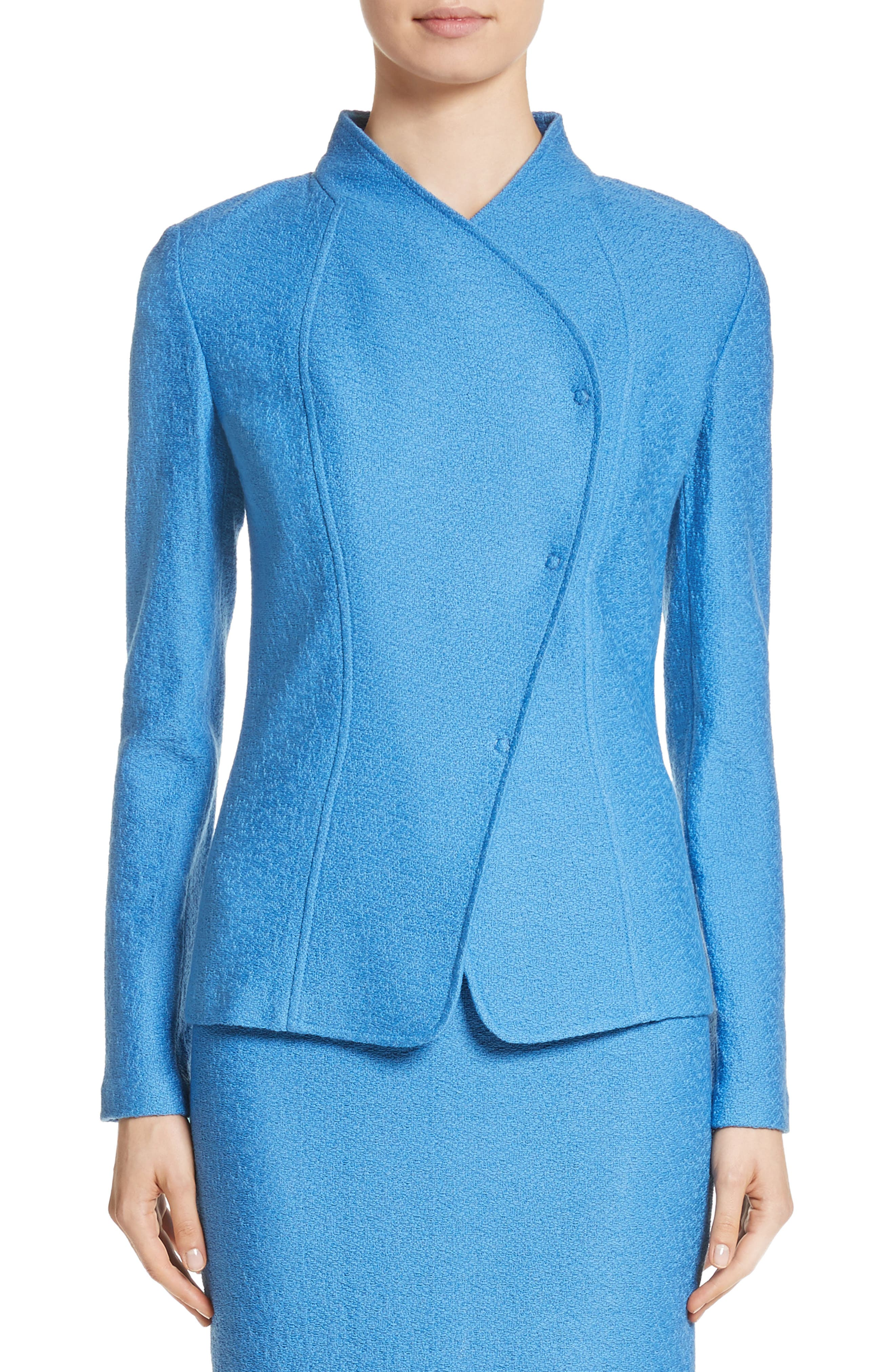 Hannah Knit Stand Collar Jacket,                         Main,                         color, Niagara