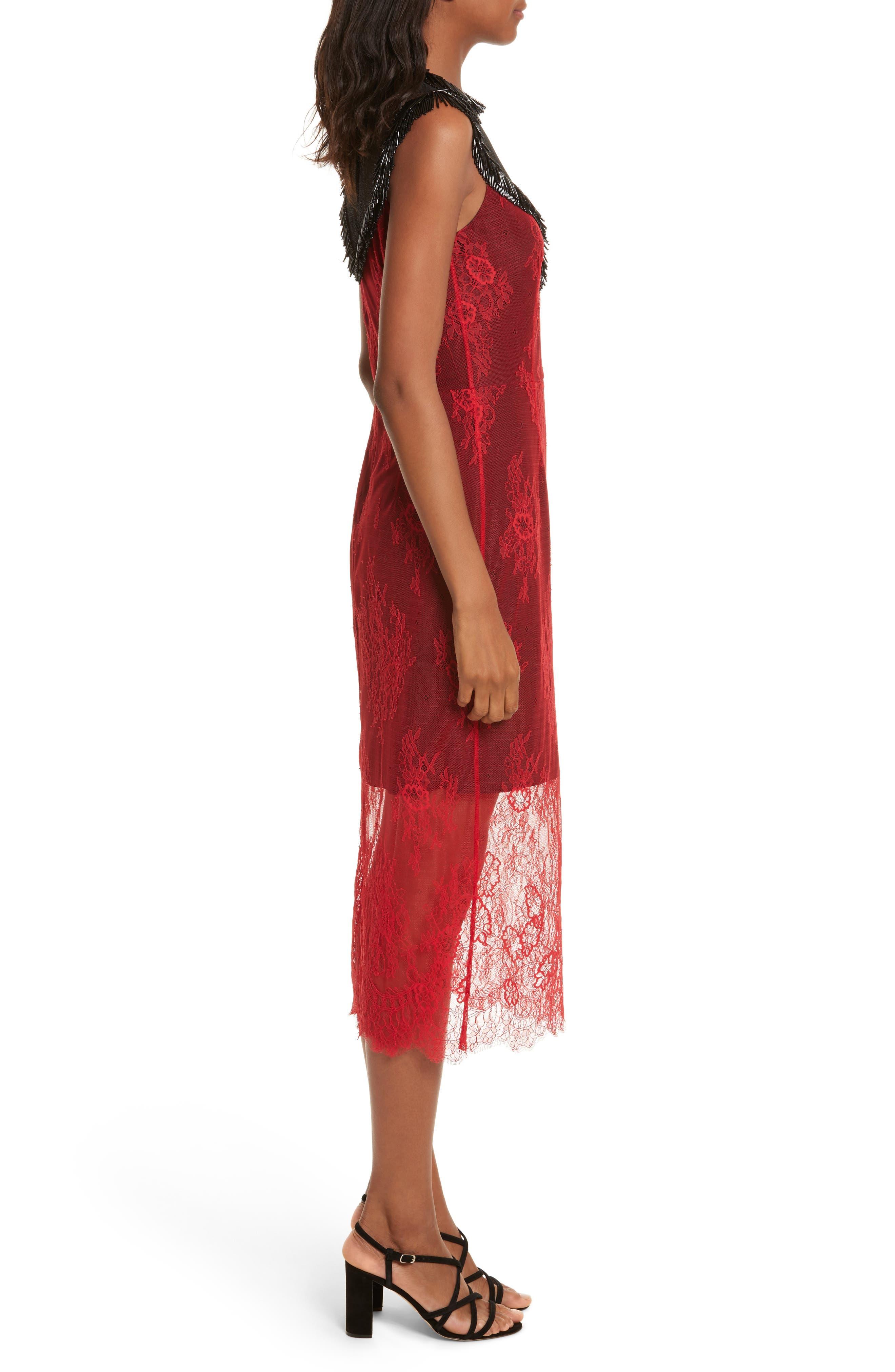 Diane von Furstenberg Beaded Lace Overlay Dress,                             Alternate thumbnail 3, color,                             Lipstick/ Black