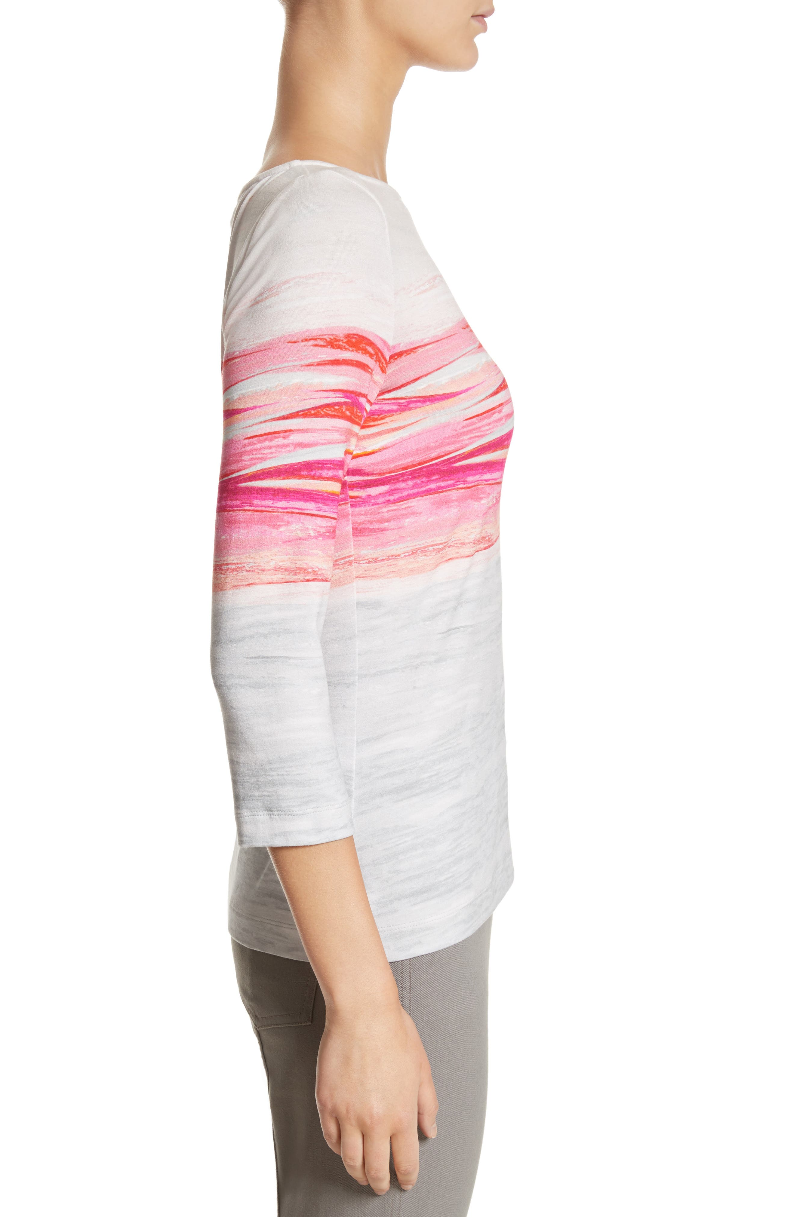 Textured Brushstroke Print Jersey Top,                             Alternate thumbnail 3, color,                             Bright Coral Multi