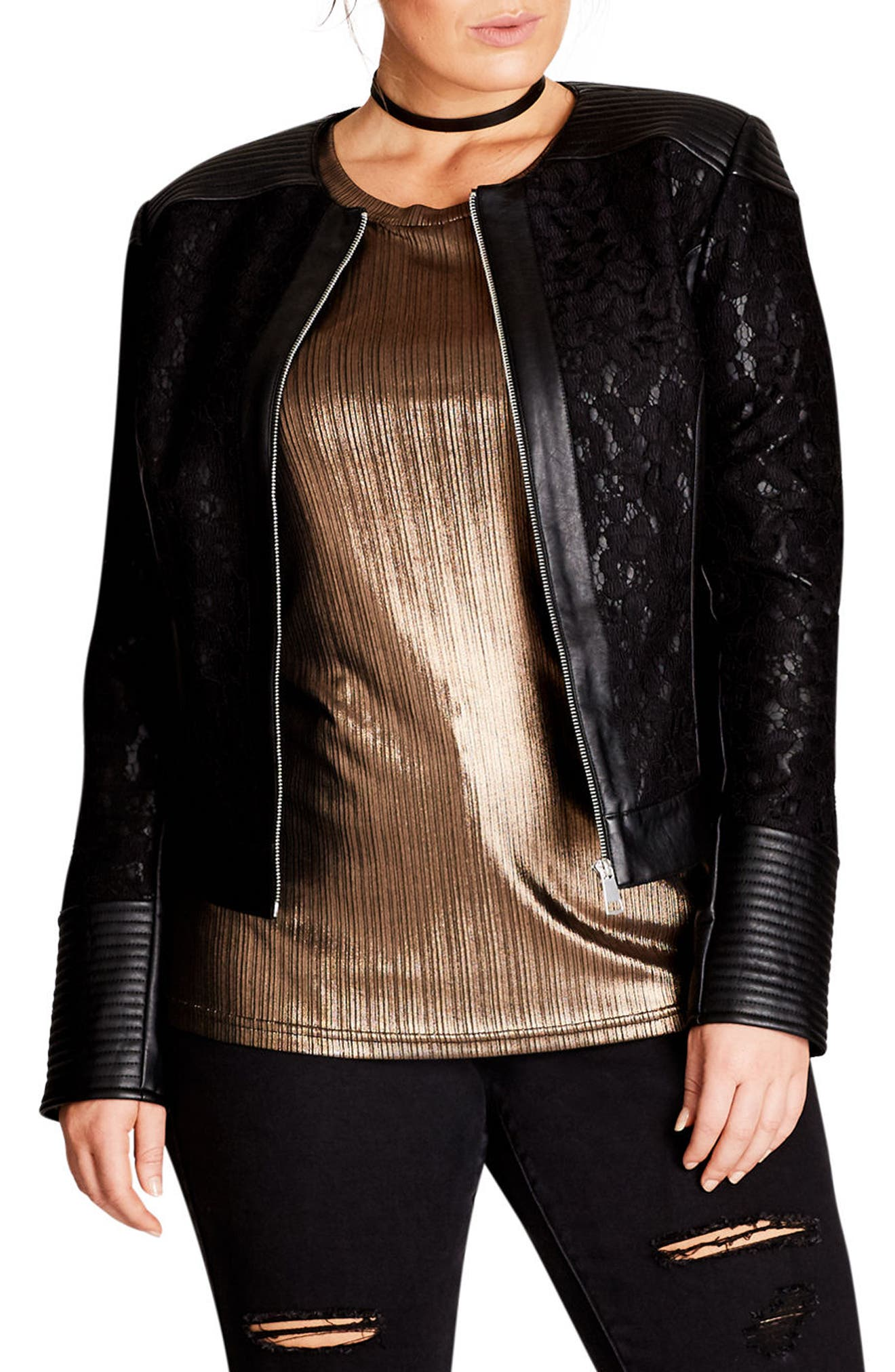 Main Image - City Chic Wild Heart Faux Leather Jacket (Plus Size)