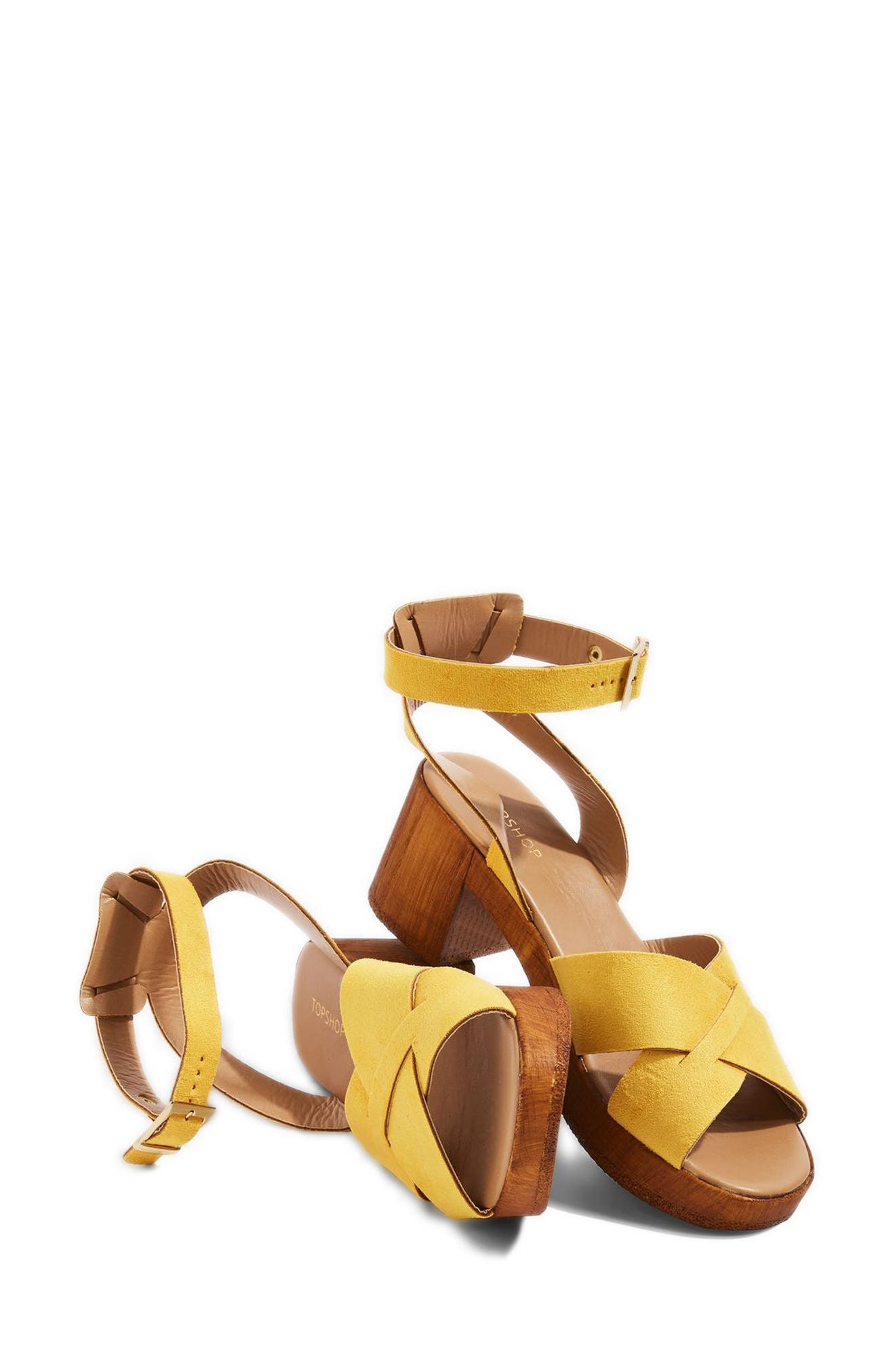 Dolly Block Heel Sandal,                             Alternate thumbnail 2, color,                             Yellow