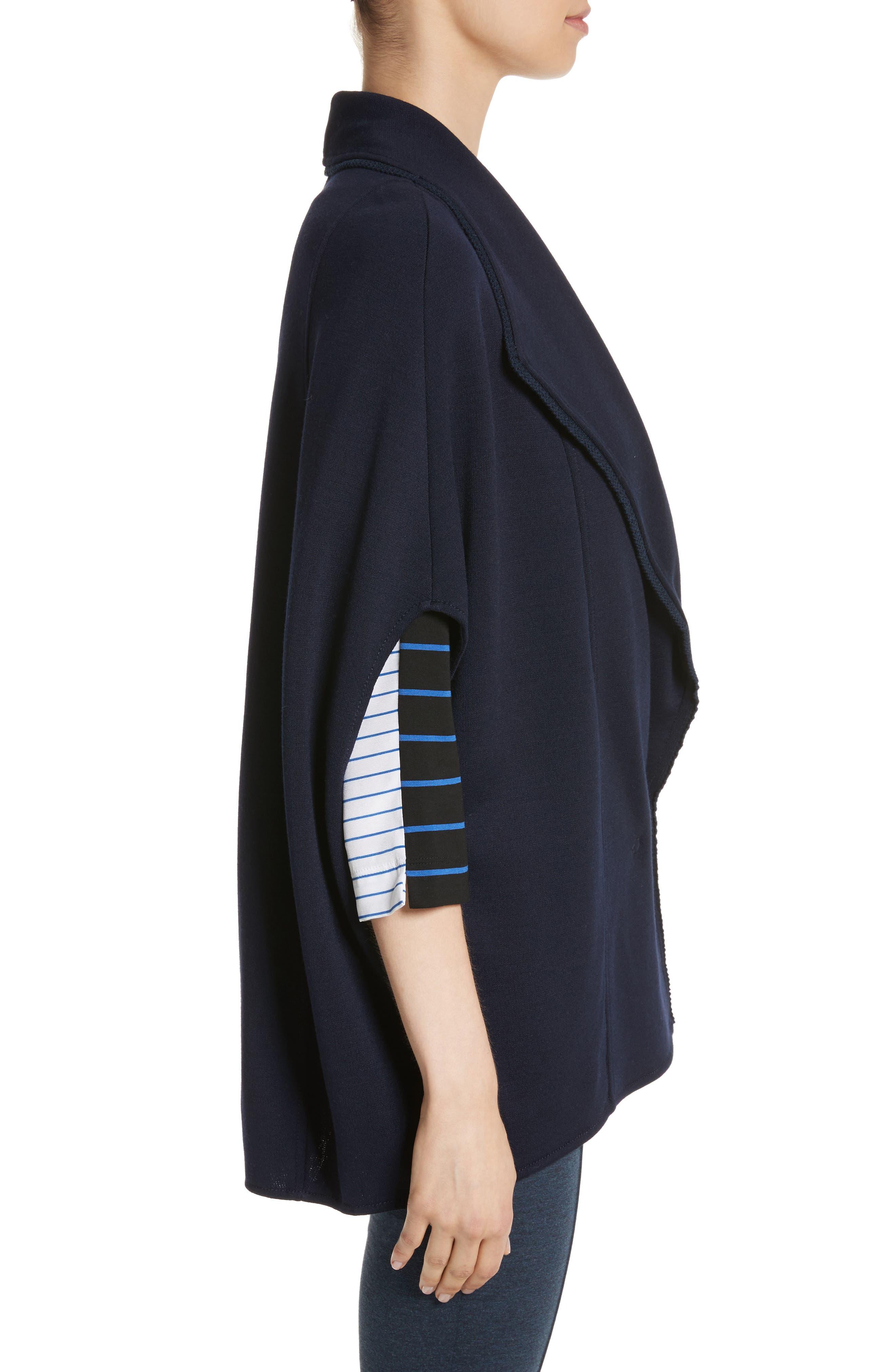 Circular Milano Knit Jacket,                             Alternate thumbnail 3, color,                             Navy