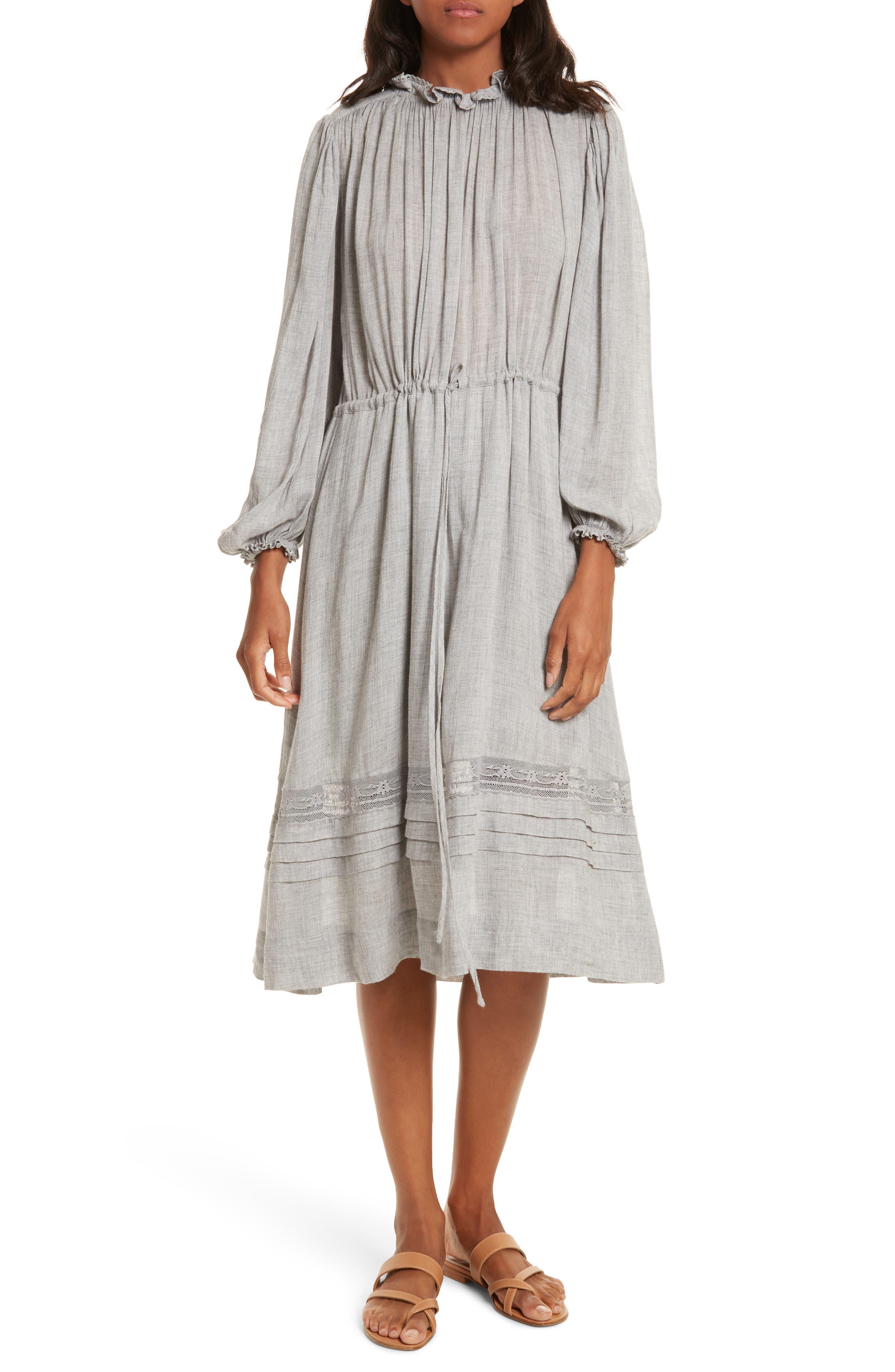 Lace Trim Gauze Drawstring Midi Dress,                         Main,                         color, Heather Grey