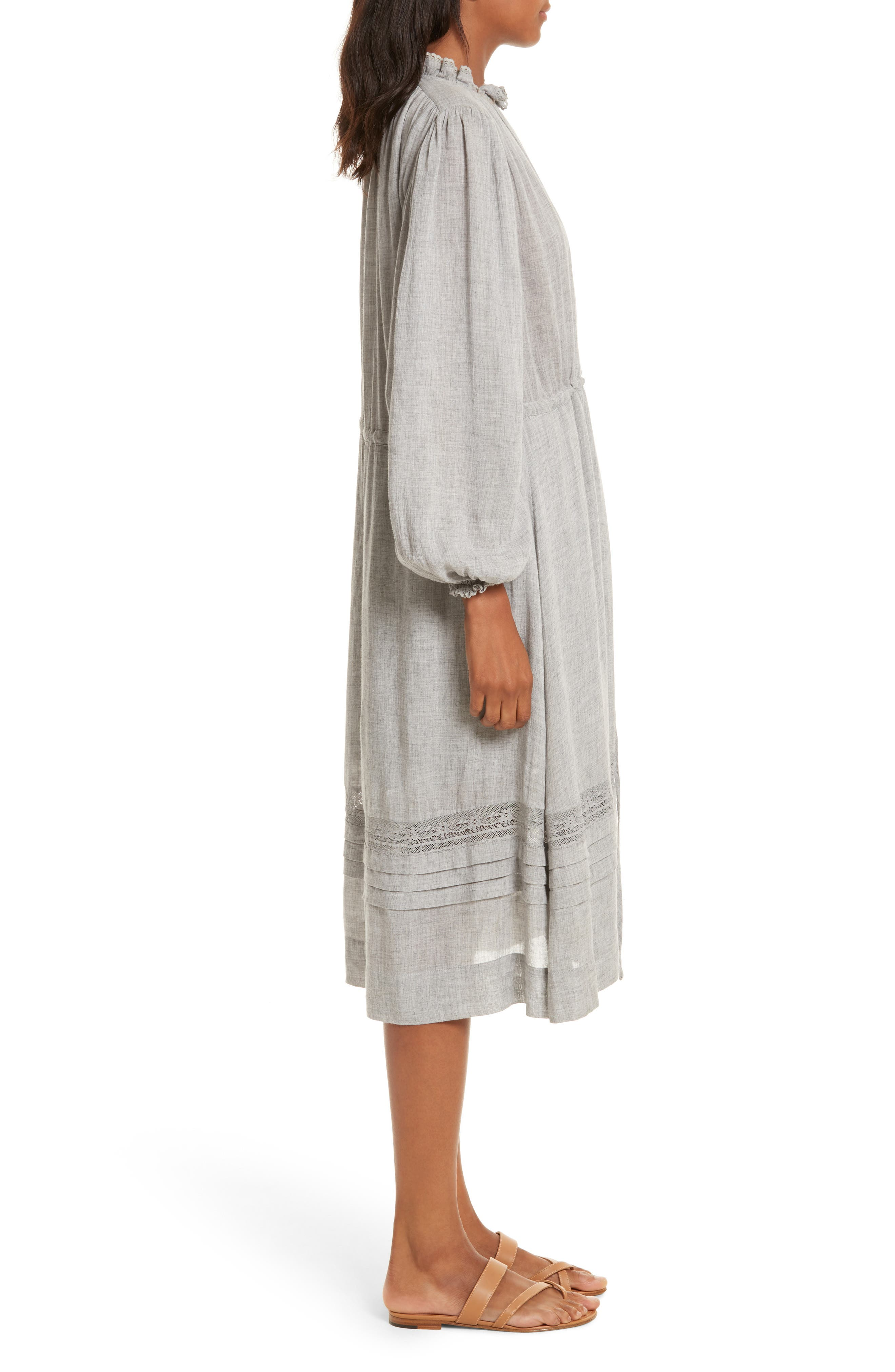 Lace Trim Gauze Drawstring Midi Dress,                             Alternate thumbnail 3, color,                             Heather Grey