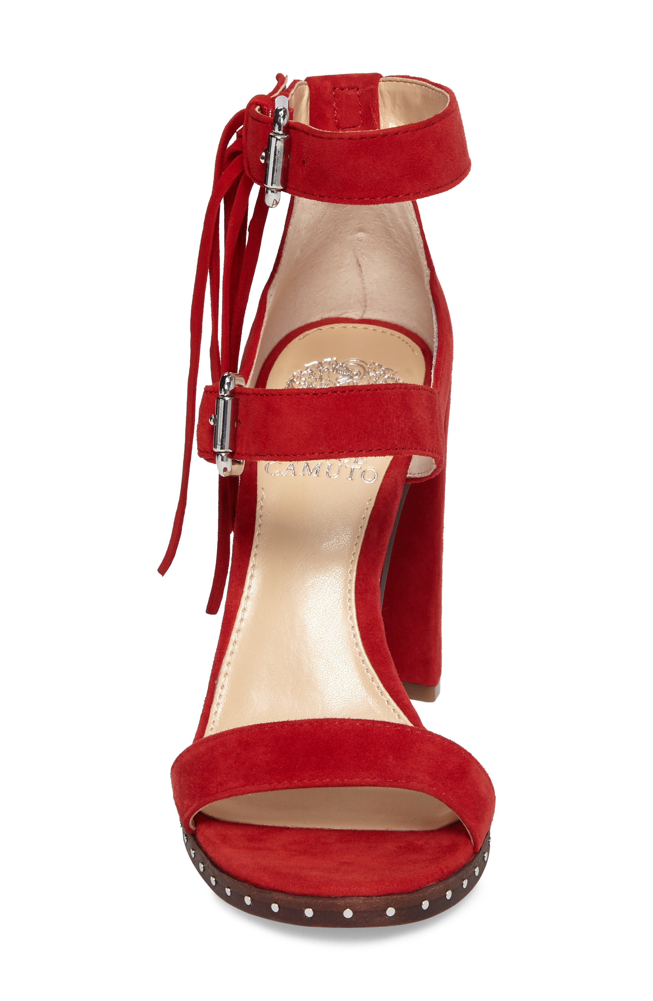 Jesina Sandal,                             Alternate thumbnail 4, color,                             Cherry Red Suede
