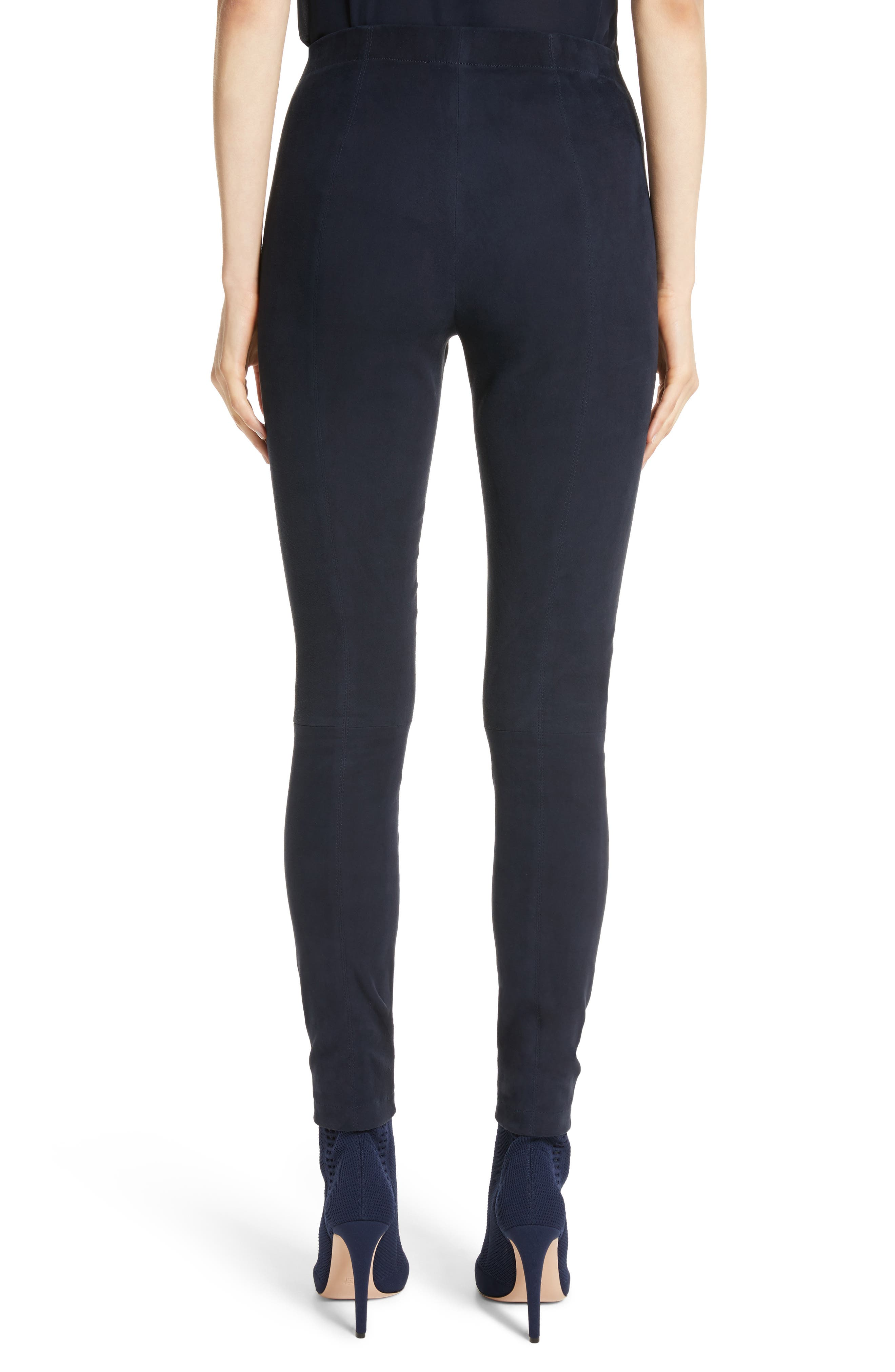Alternate Image 2  - St. John Collection Stretch Suede Crop Leggings