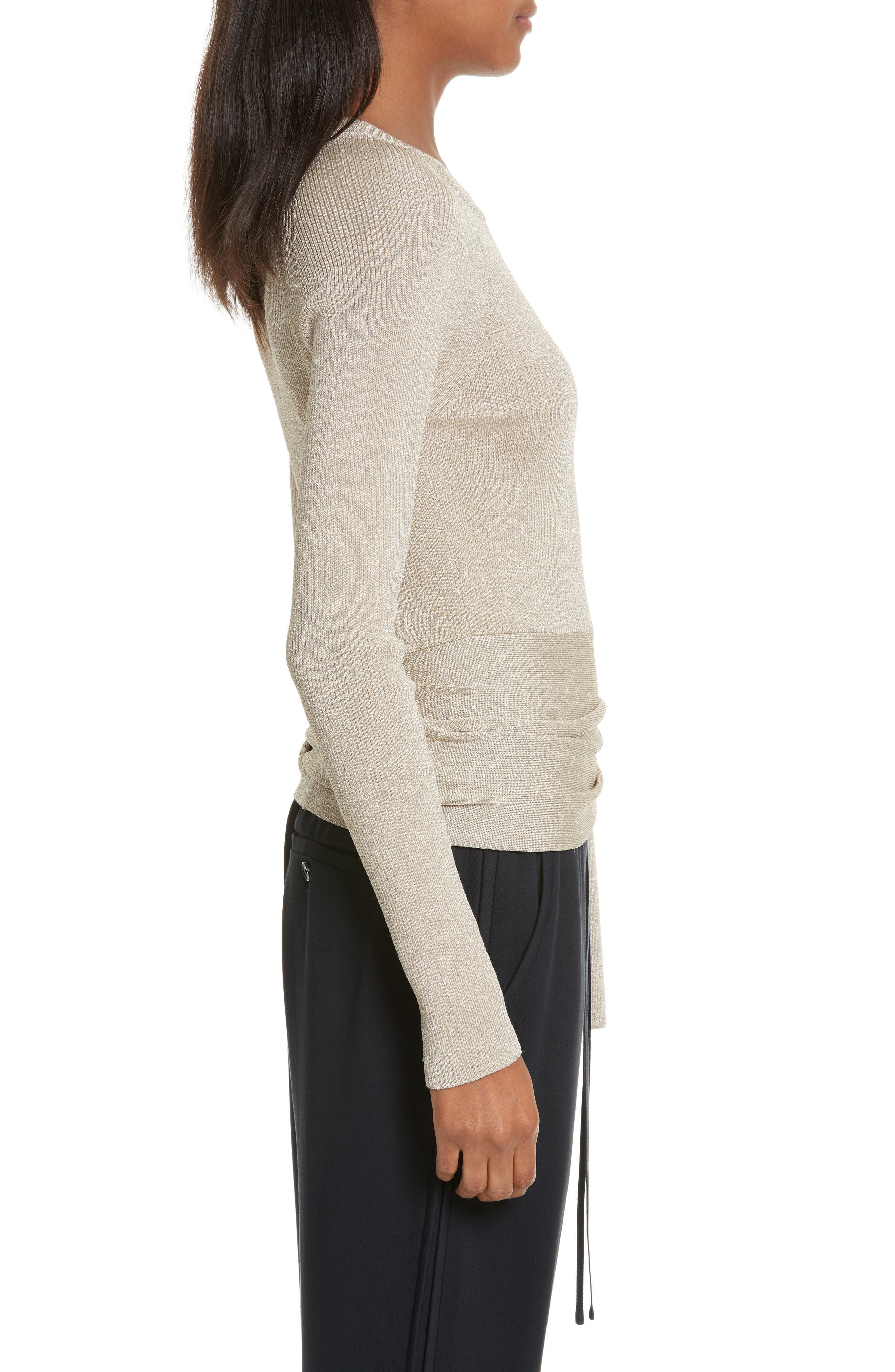 Metallic Side Tie Sweater,                             Alternate thumbnail 3, color,                             Gold