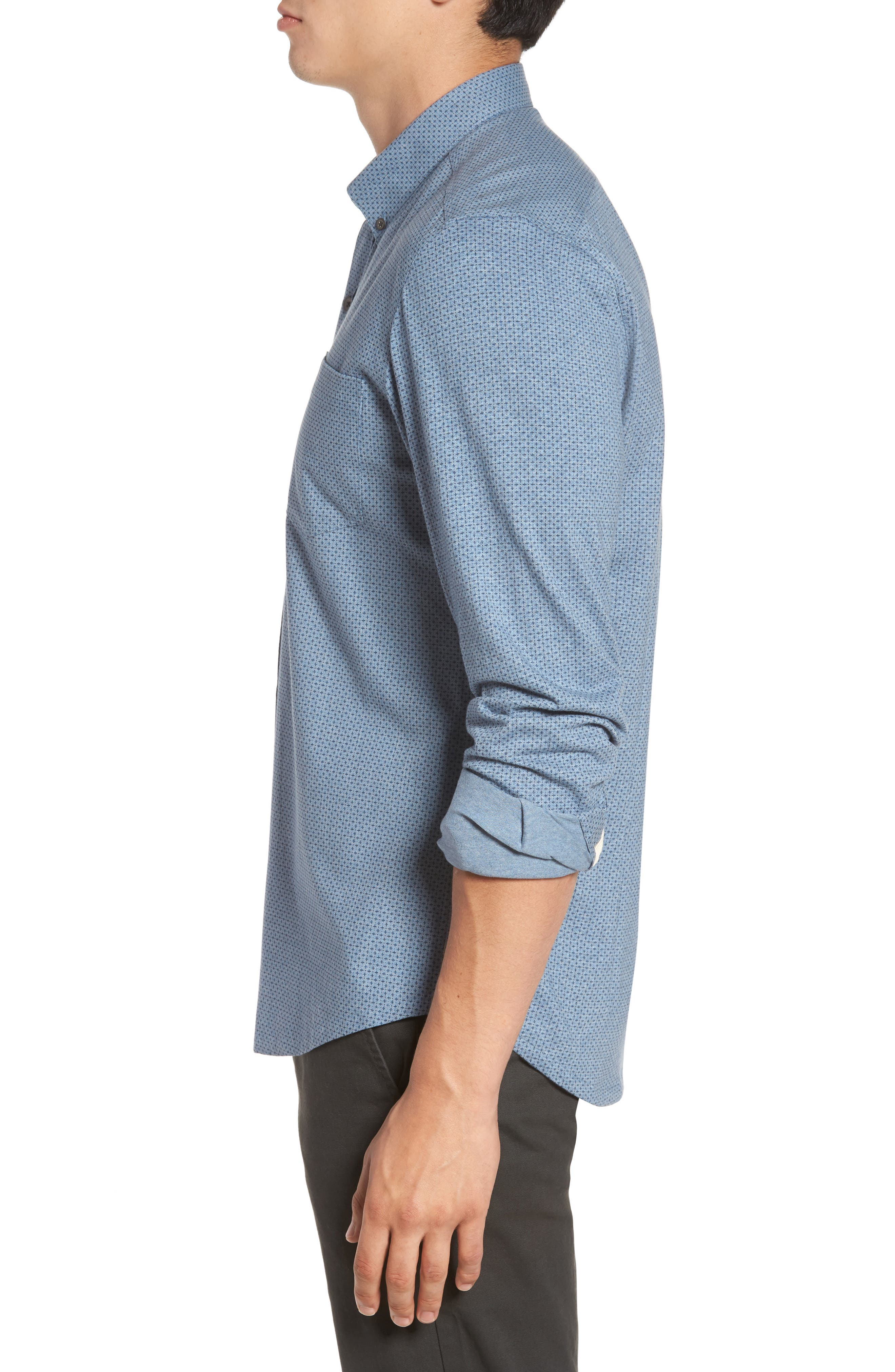 Reworked Patterned Sport Shirt,                             Alternate thumbnail 3, color,                             Blue