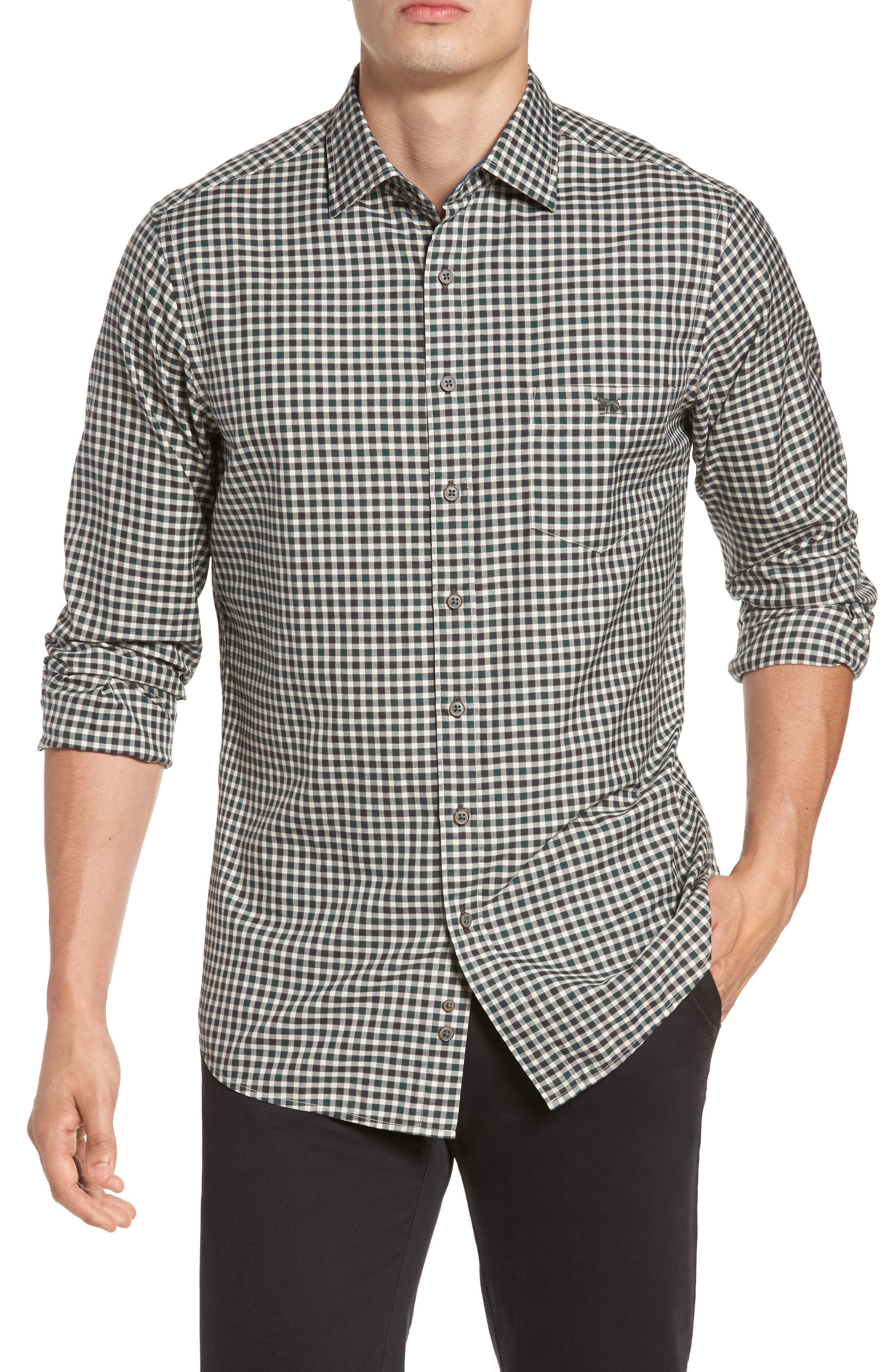Sports Fit Huntly Sport Shirt,                         Main,                         color, Forest