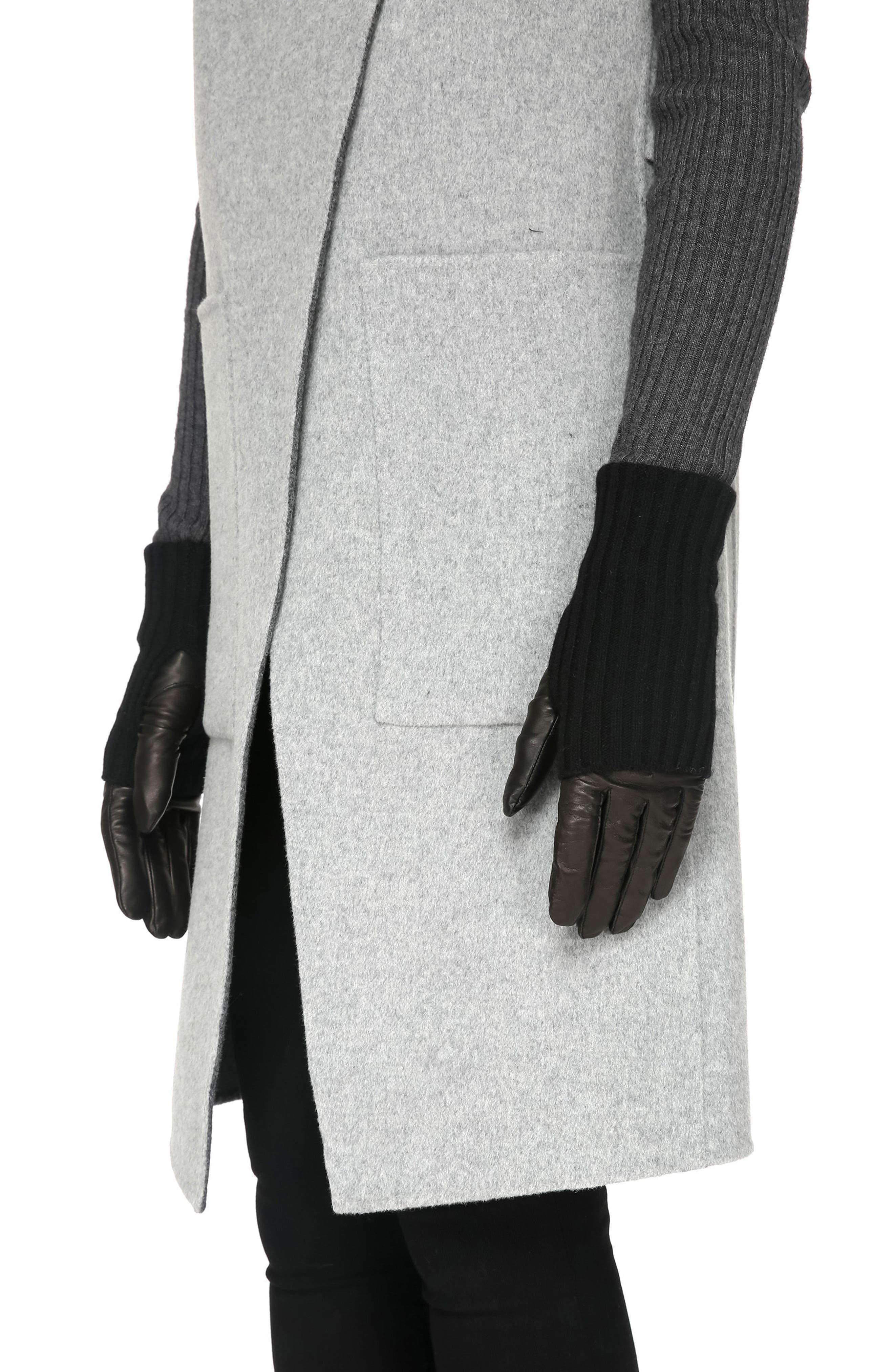 Soia & Kyo Rib Trim Lambskin Leather Gloves