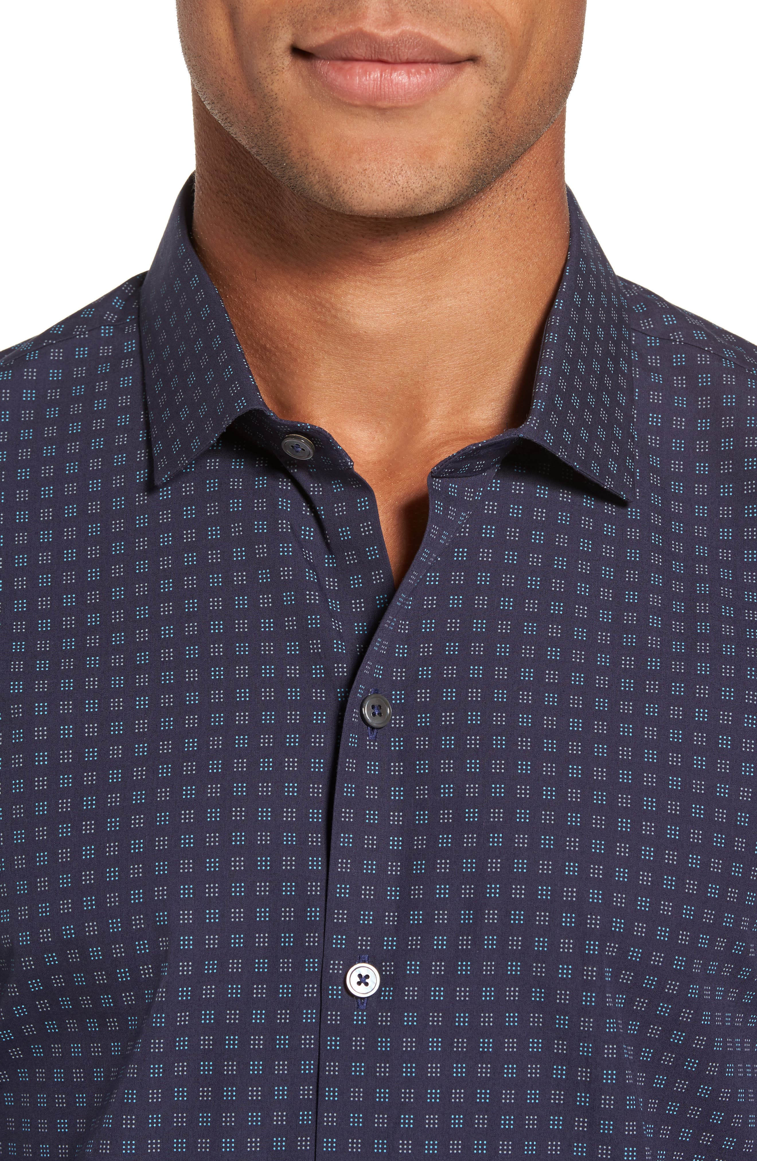 Maison Slim Fit Print Sport Shirt,                             Alternate thumbnail 4, color,                             Navy