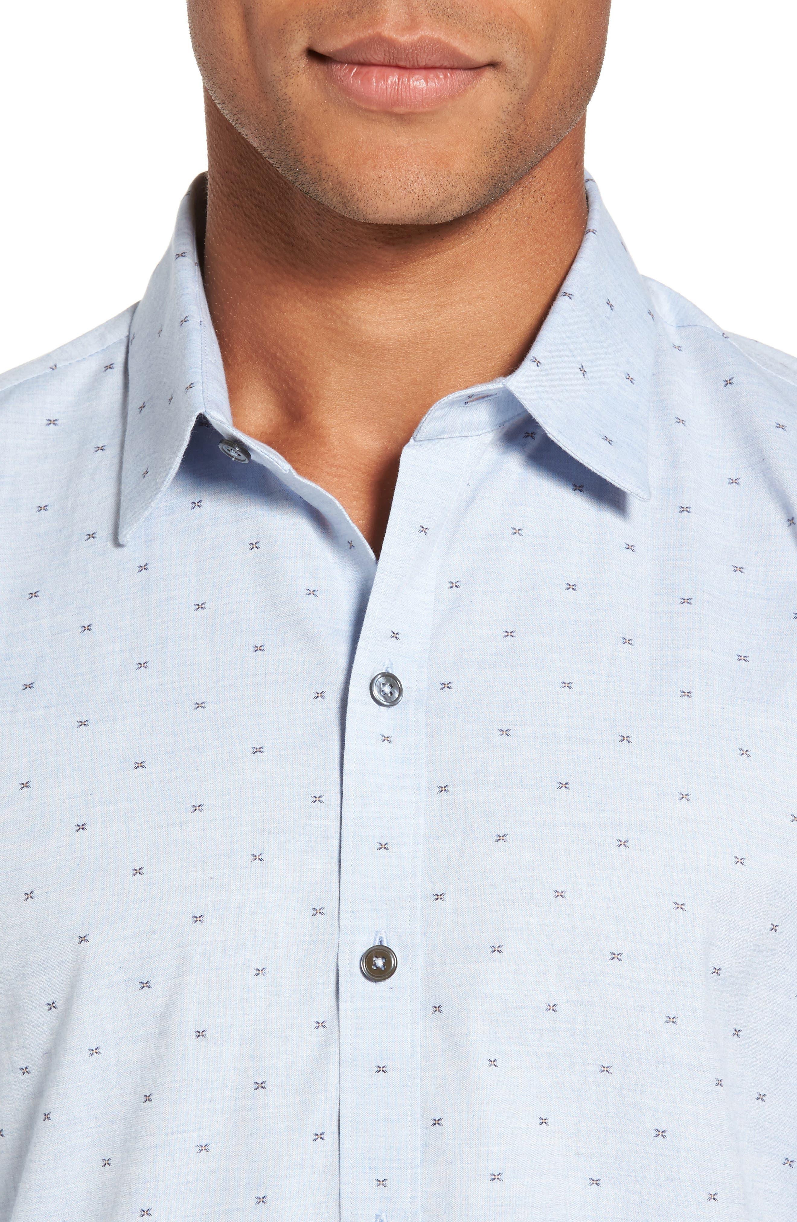 Caffoe Slim Fit Dobby Sport Shirt,                             Alternate thumbnail 4, color,                             Blue