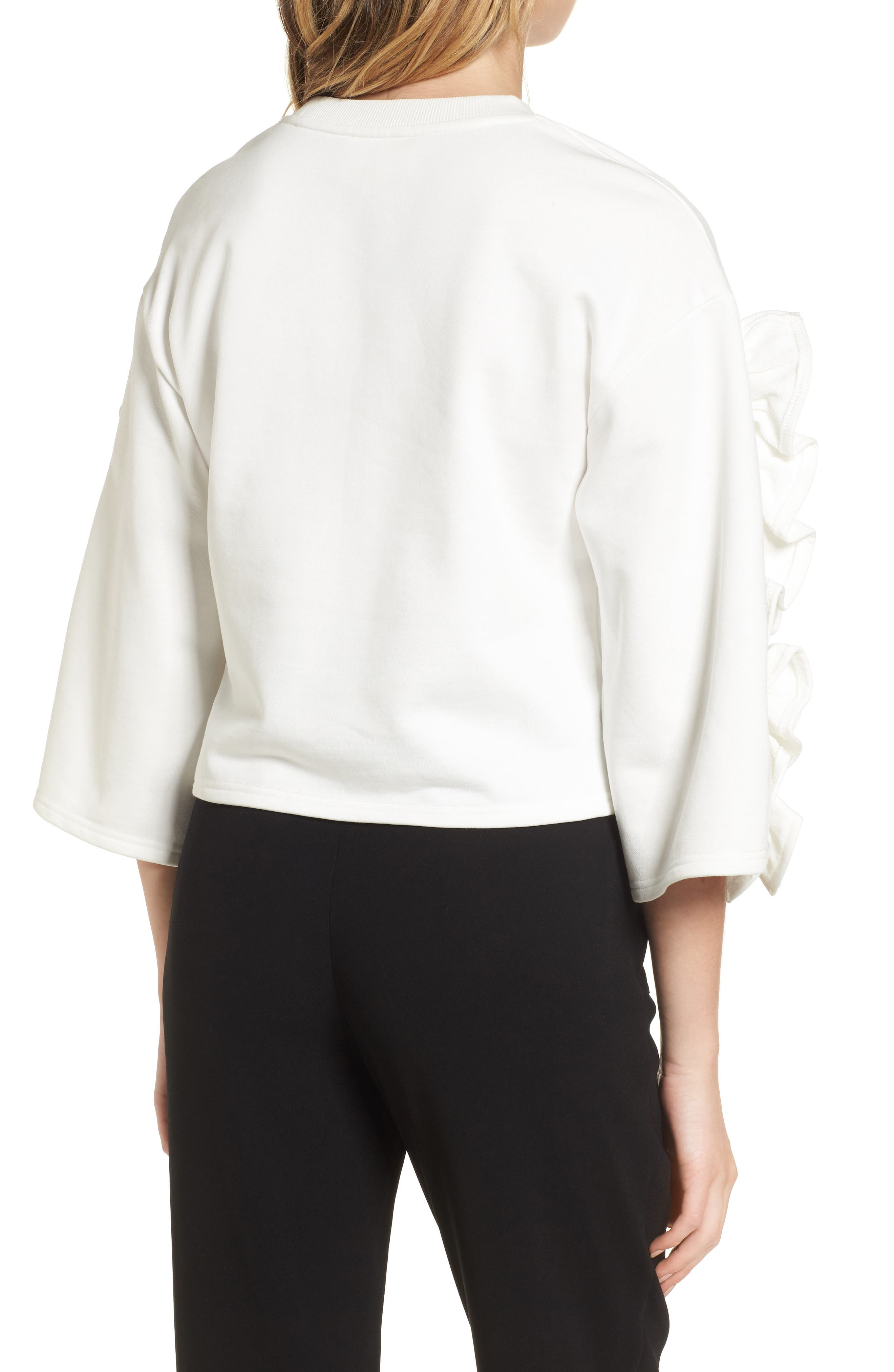 Ruffle Sleeve Top,                             Alternate thumbnail 2, color,                             White