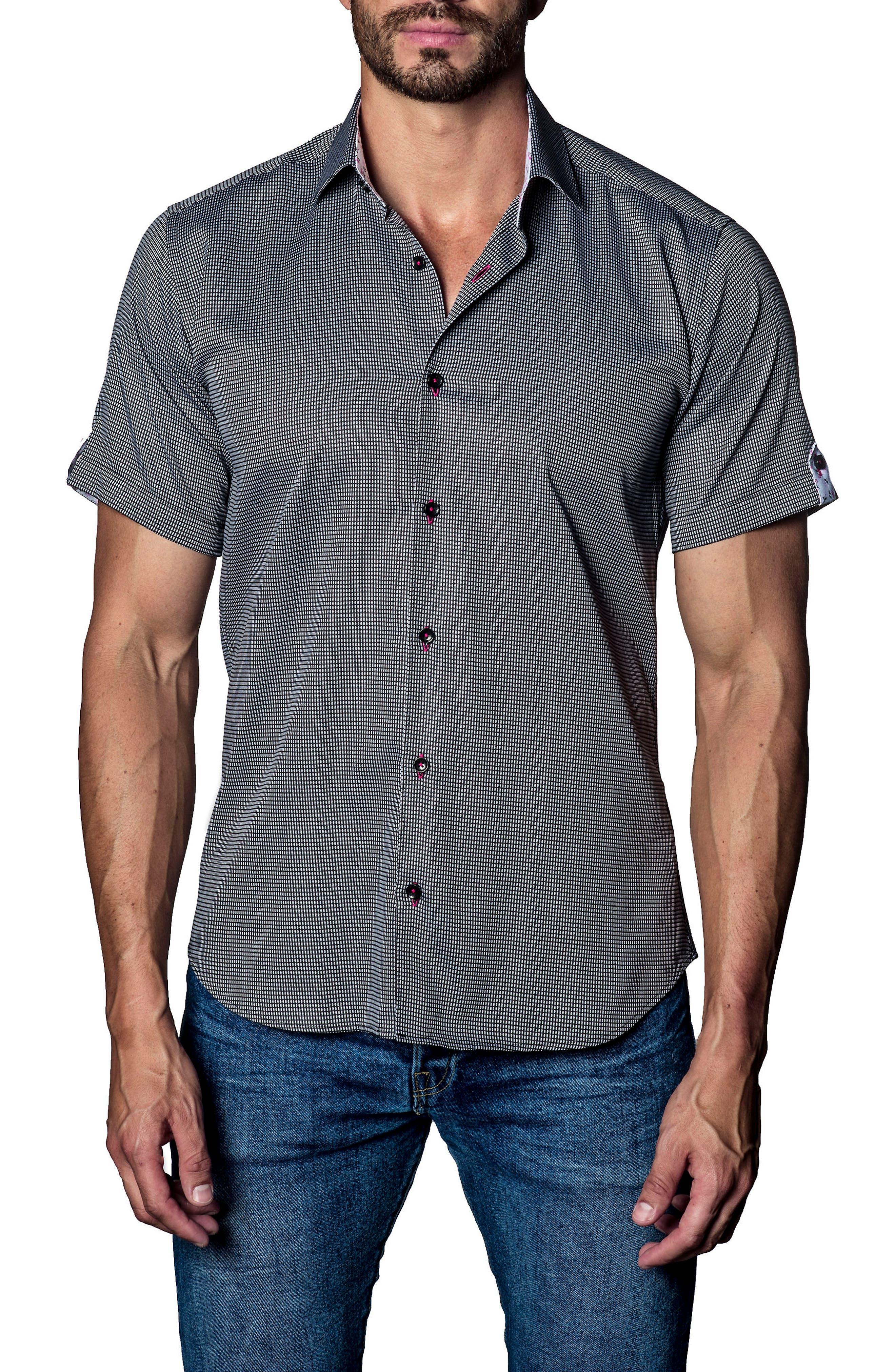 Print Sport Shirt,                         Main,                         color, White/ Black Print