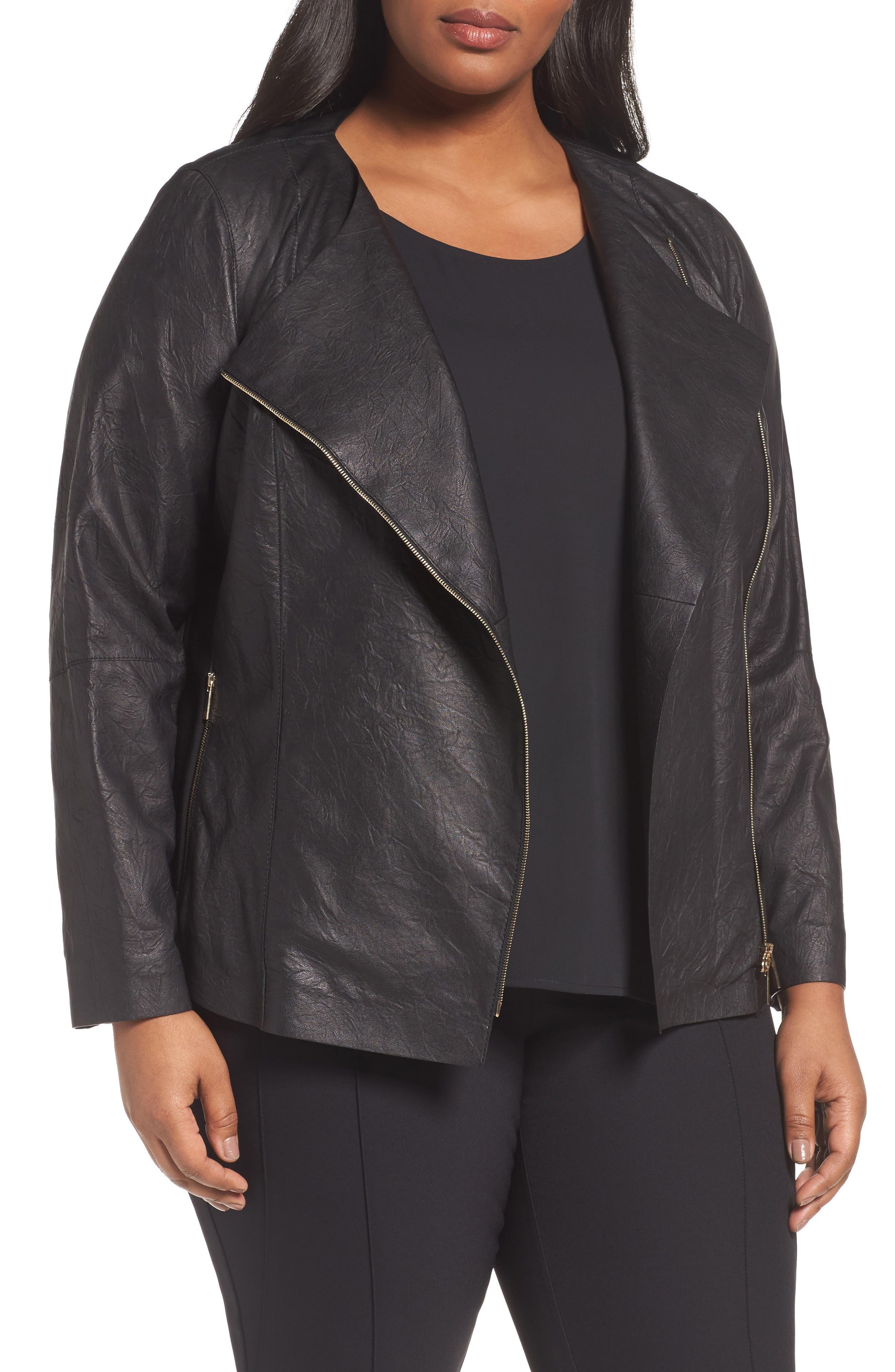 Aimes Leather Jacket,                             Main thumbnail 1, color,                             Black