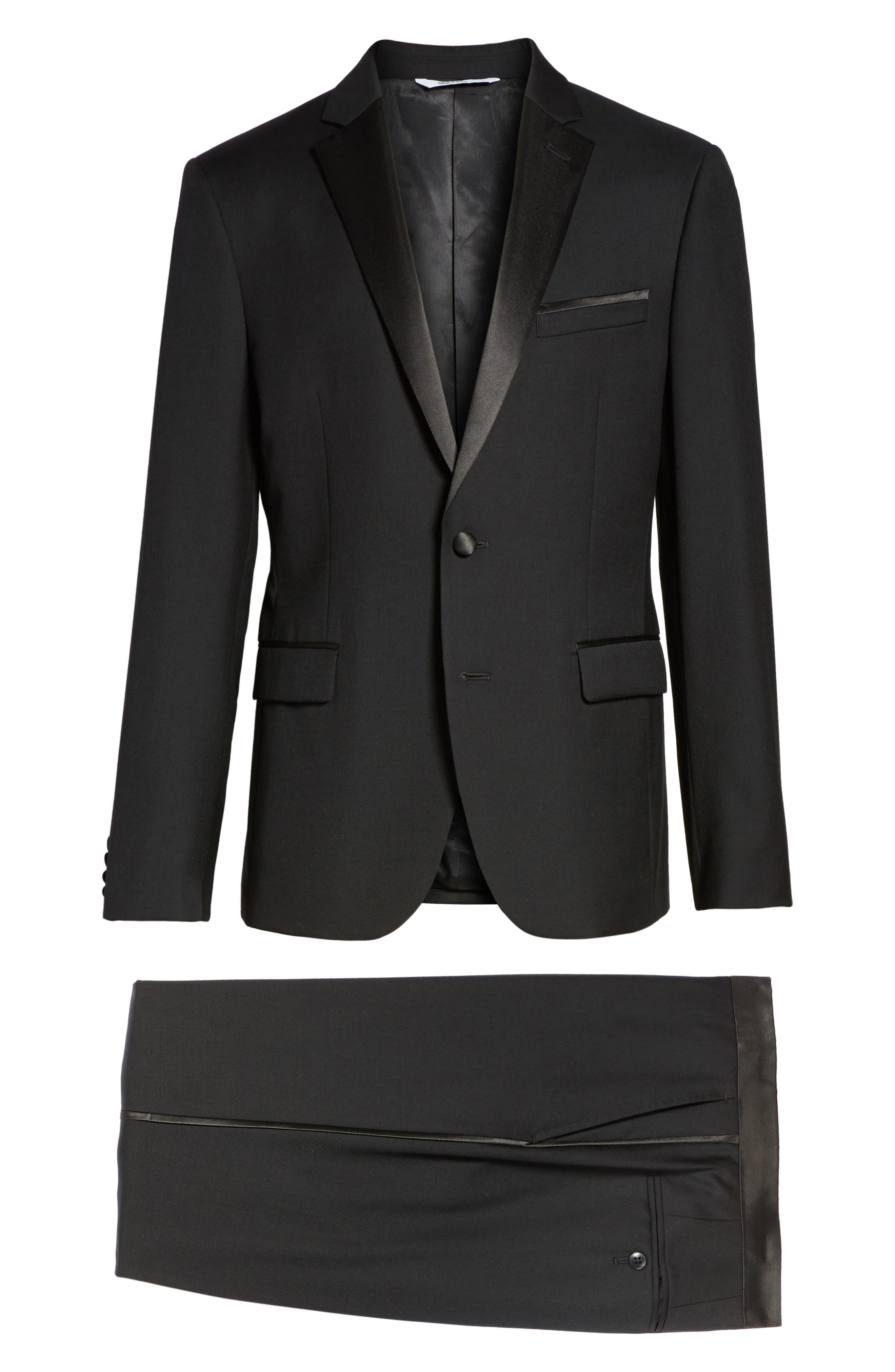 Trim Fit Wool Blend Tuxedo,                             Alternate thumbnail 8, color,                             Black