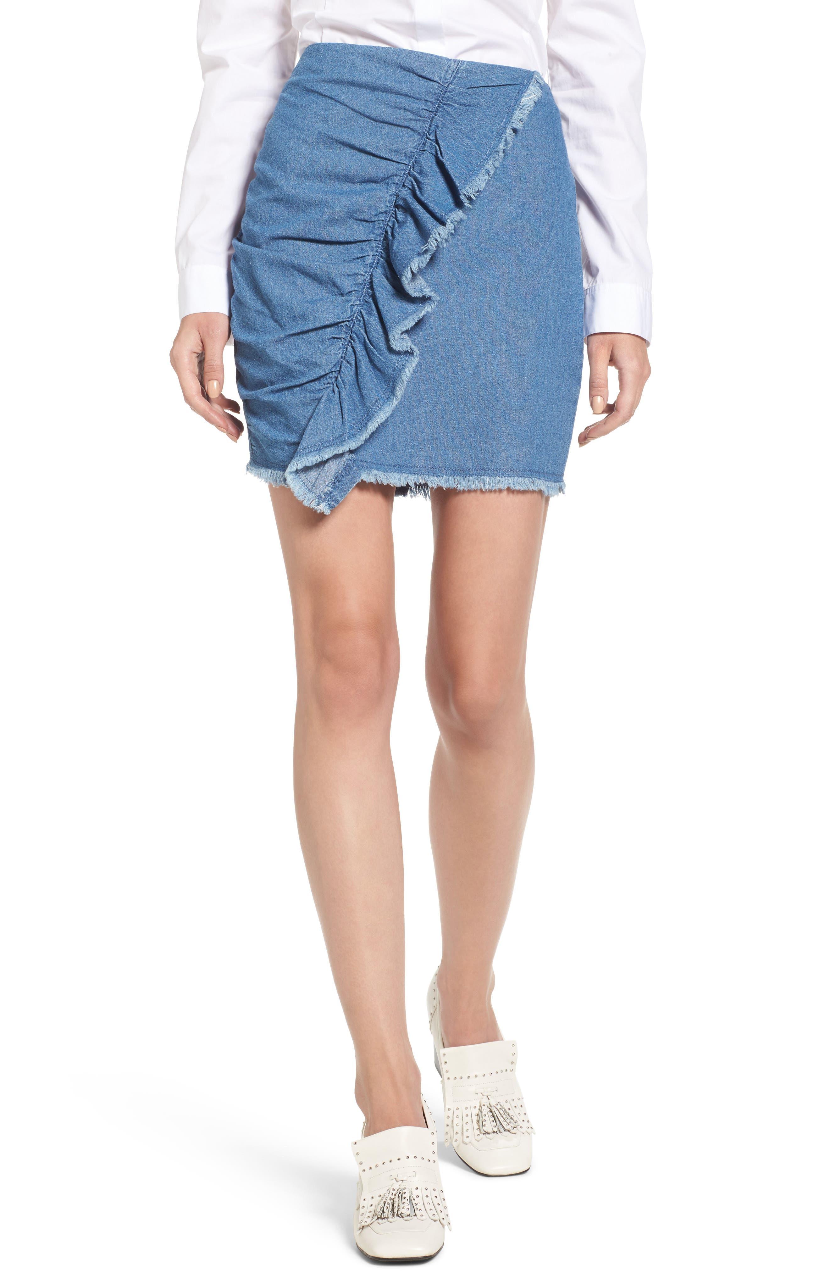 Ruffle Denim Miniskirt,                         Main,                         color, Washed Blue