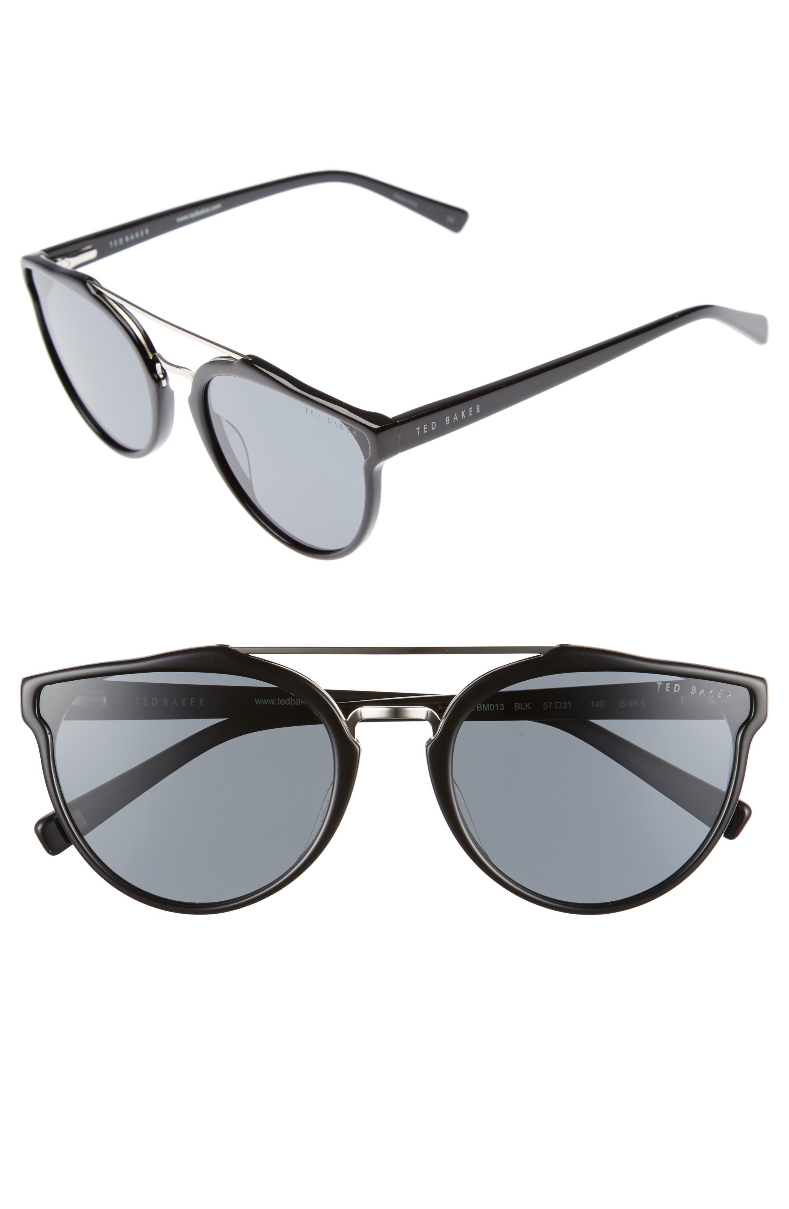 Retro 57mm Polarized Sunglasses,                             Main thumbnail 1, color,                             Black
