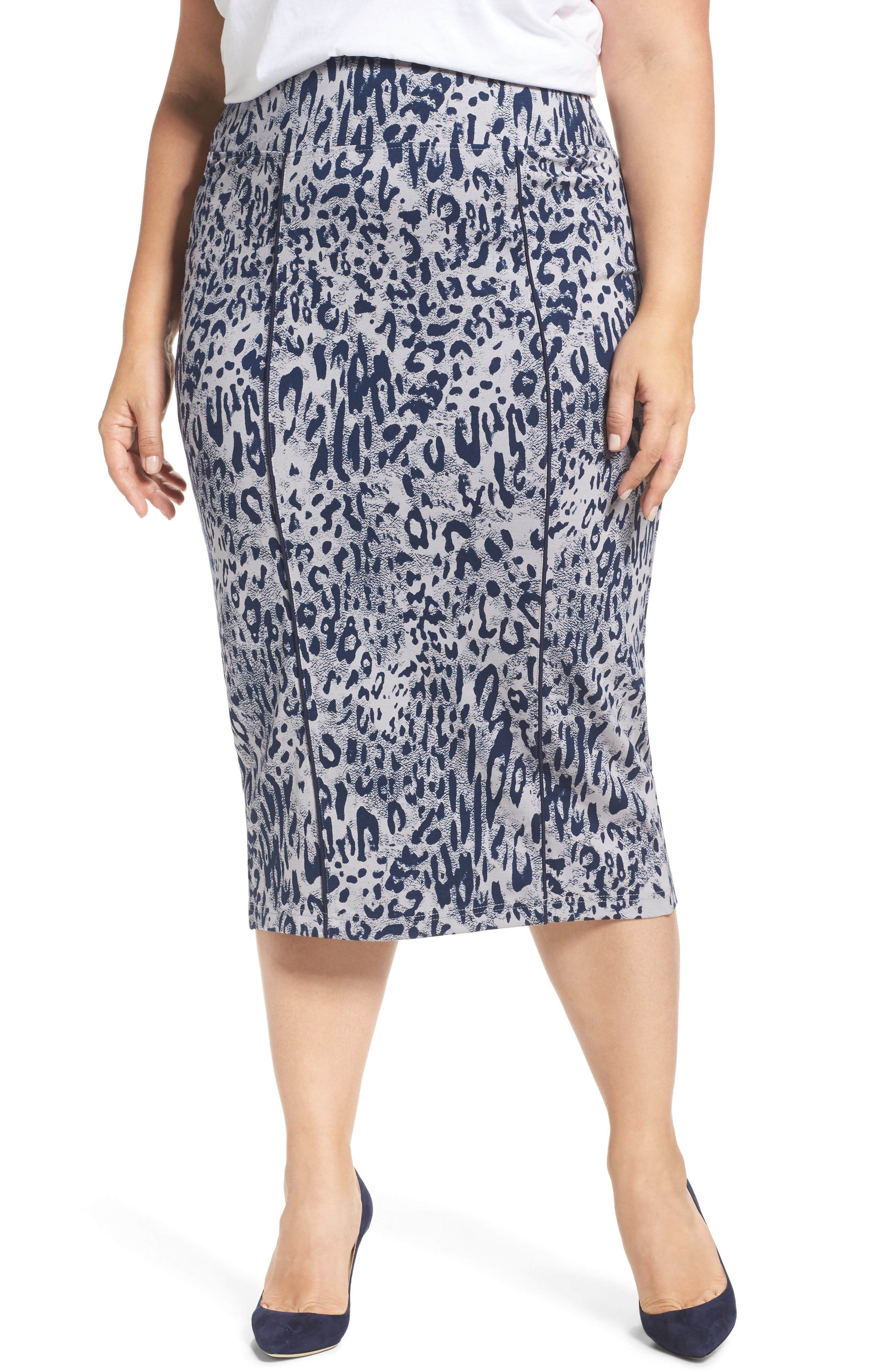 Melissa McCarthy Seven7 Leopard Print Pencil Skirt (Plus Size)