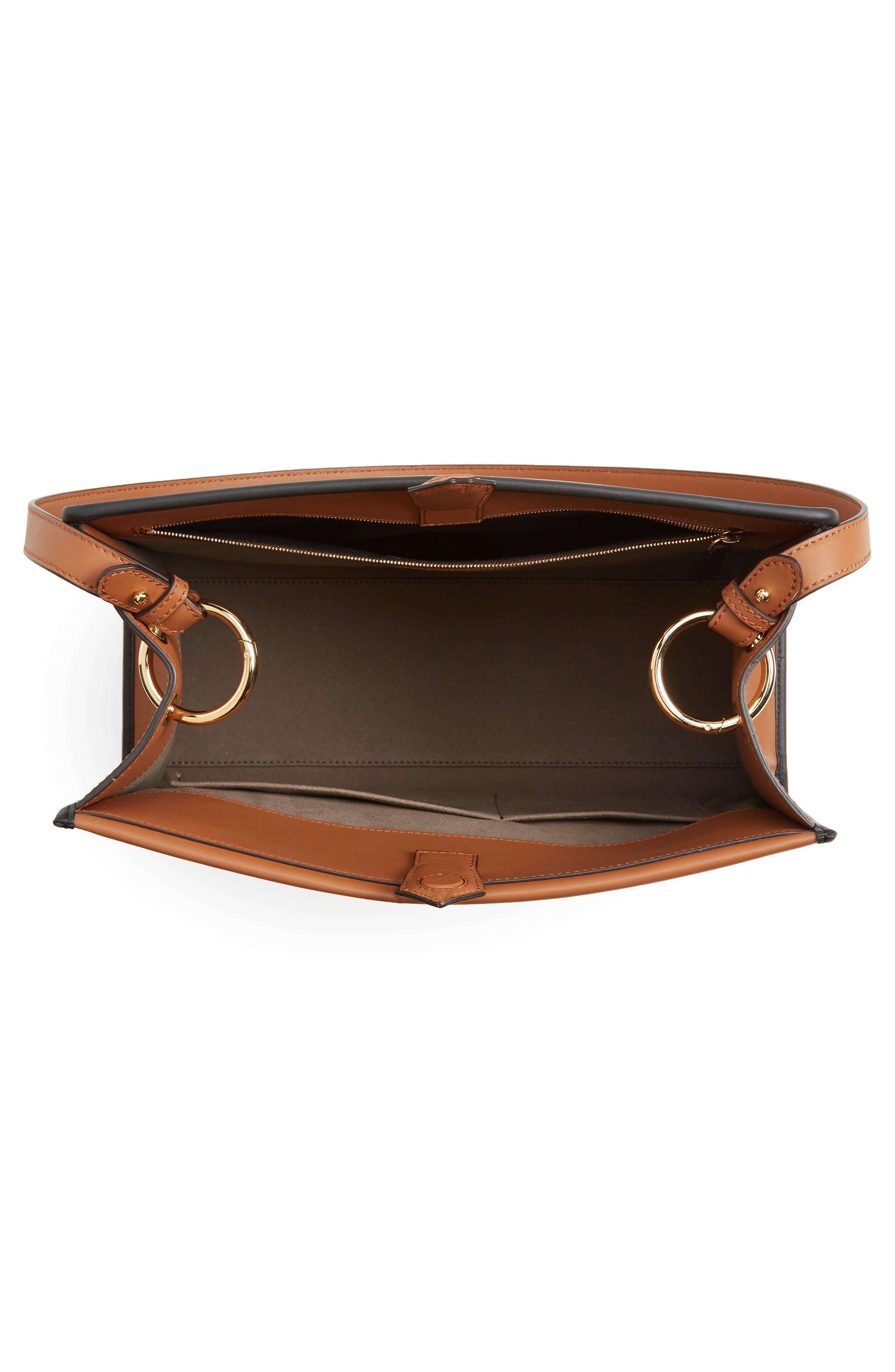 Runaway Medium Leather Tote Bag,                             Alternate thumbnail 4, color,                             Brown