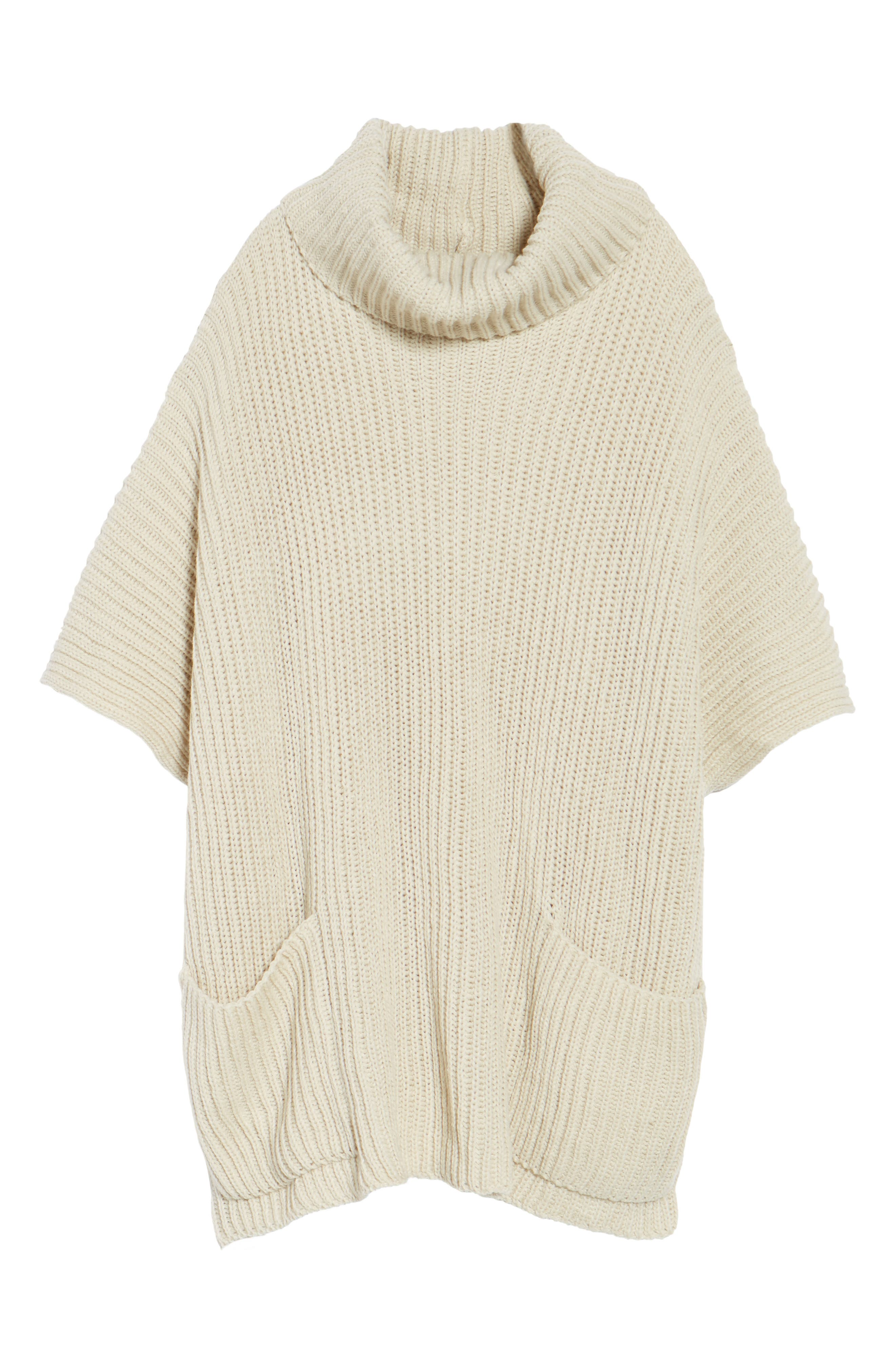 Cowl Neck Poncho,                             Alternate thumbnail 6, color,                             Ivory
