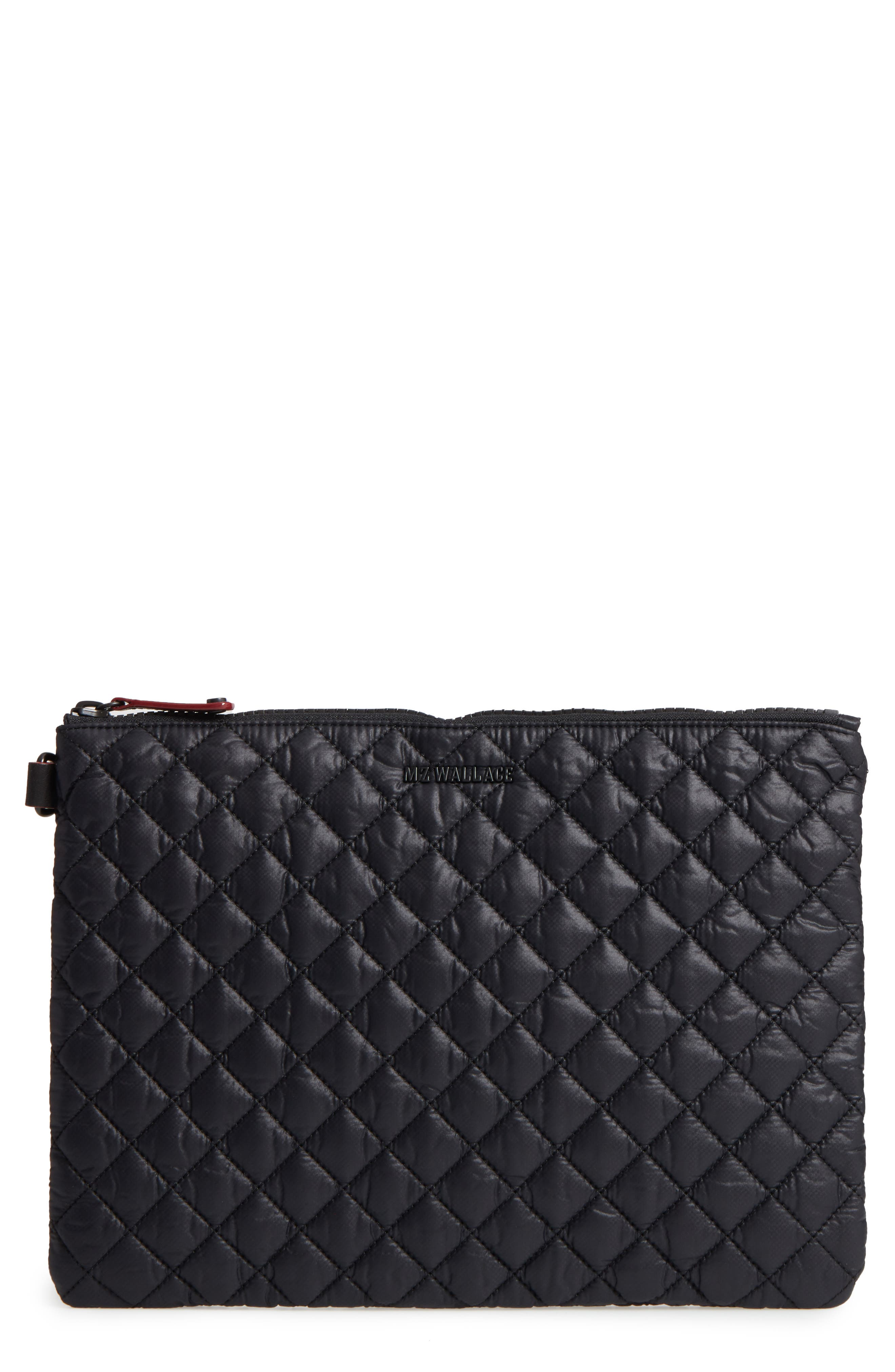 Metro Quilted Oxford Nylon Zip Pouch - Black