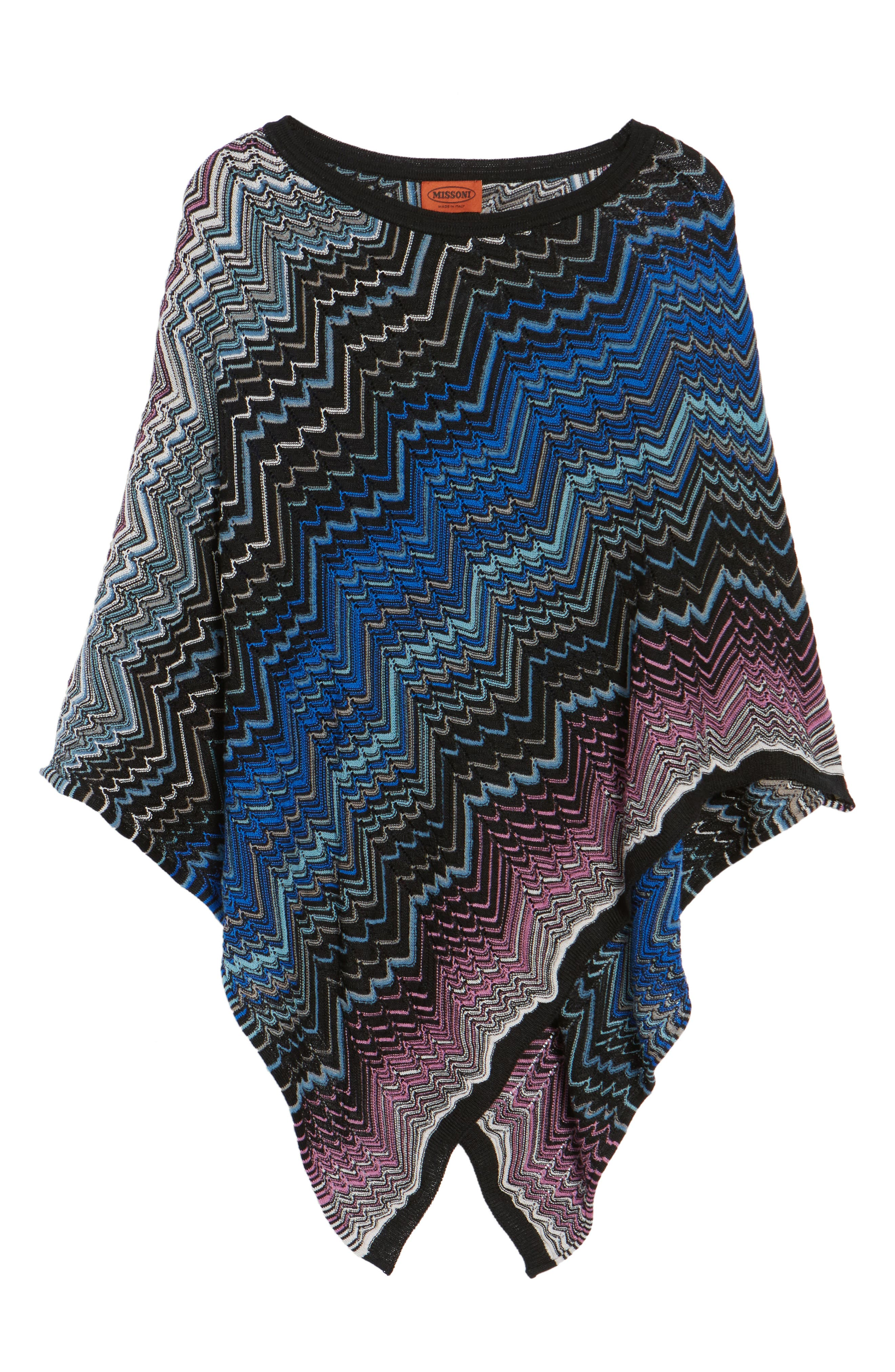 Zigzag Poncho,                             Alternate thumbnail 5, color,                             Blue