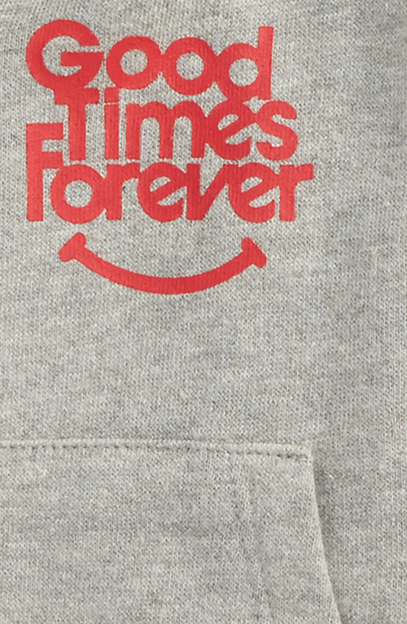 Good Times Forever Zip Hoodie,                             Alternate thumbnail 2, color,                             Heather Grey