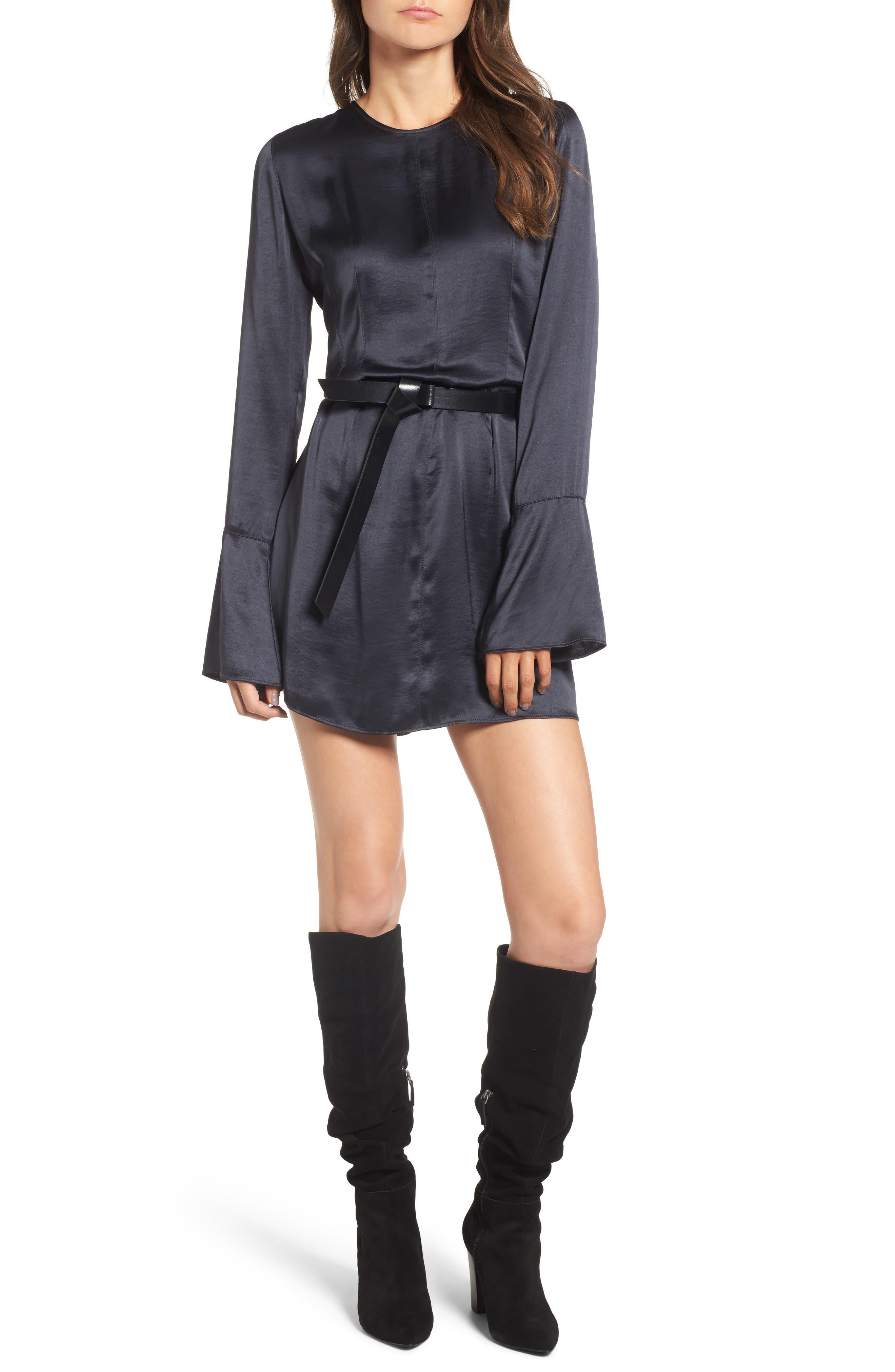 x Something Navy Bell Sleeve Minidress,                         Main,                         color, Grey Phantom