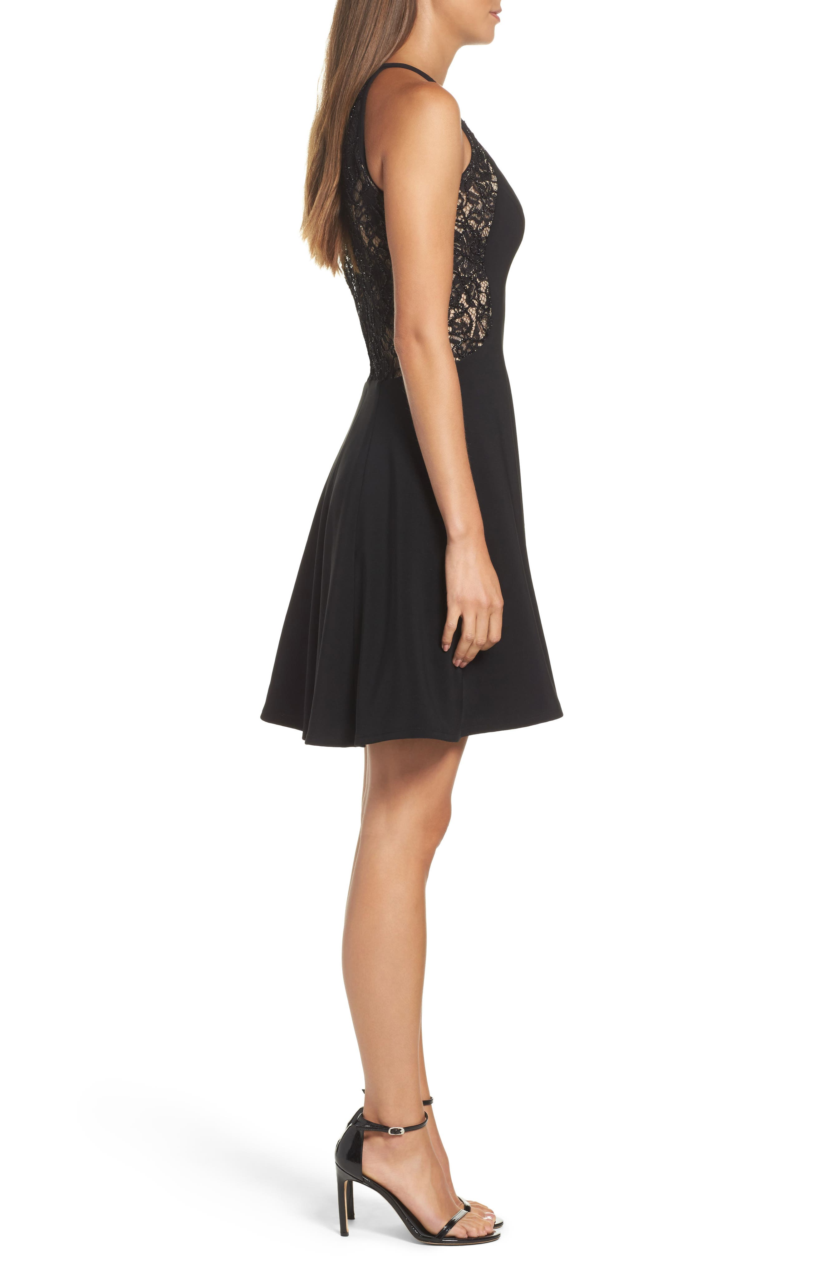 Lace & Jersey Party Dress,                             Alternate thumbnail 3, color,                             Black/ Nude