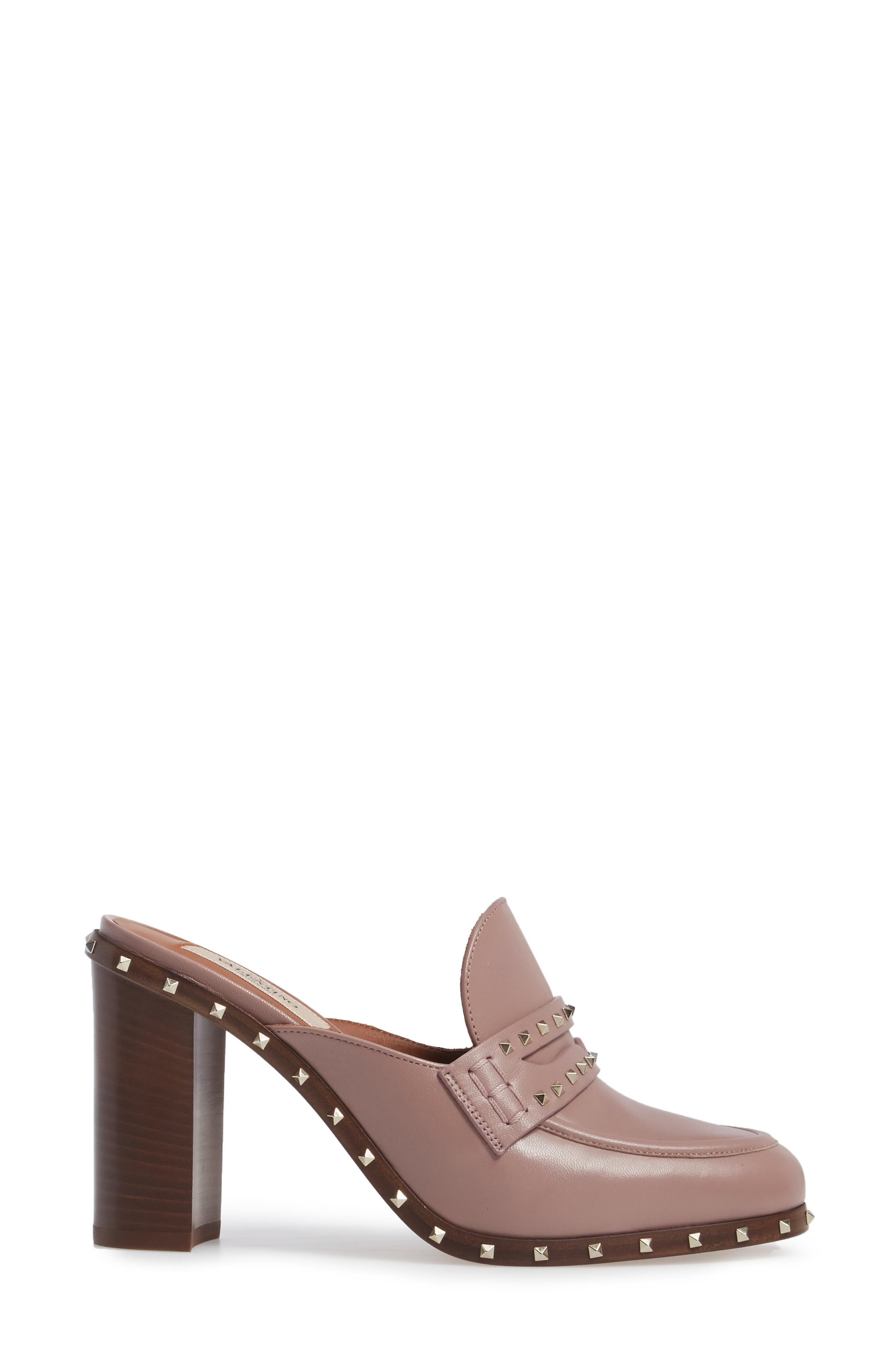 Rockstud Loafer Mule,                             Alternate thumbnail 3, color,                             Pink Leather