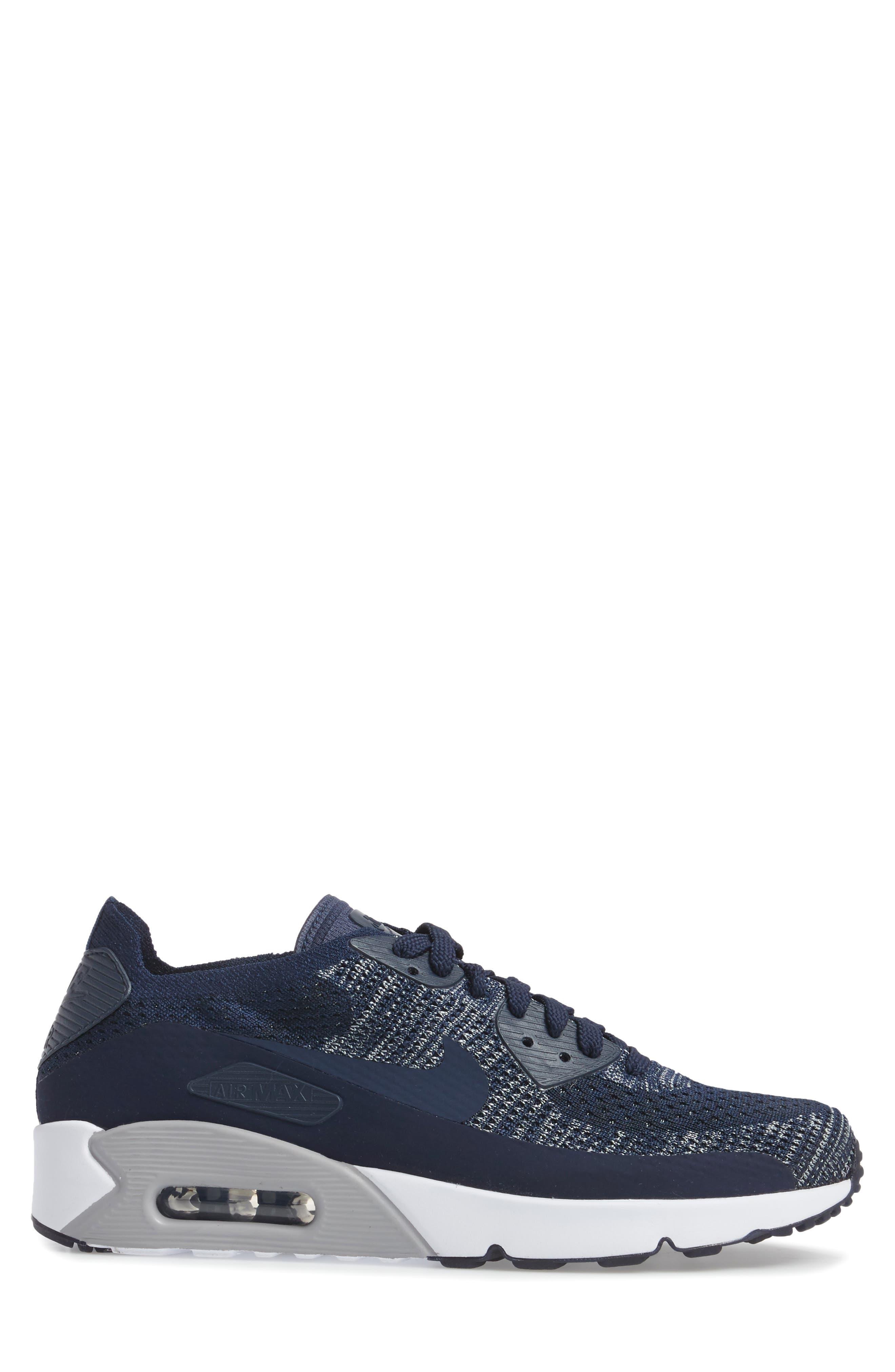 Air Max 90 Ultra 2.0 Flyknit Sneaker,                             Alternate thumbnail 3, color,                             Navy/ Navy/ Grey