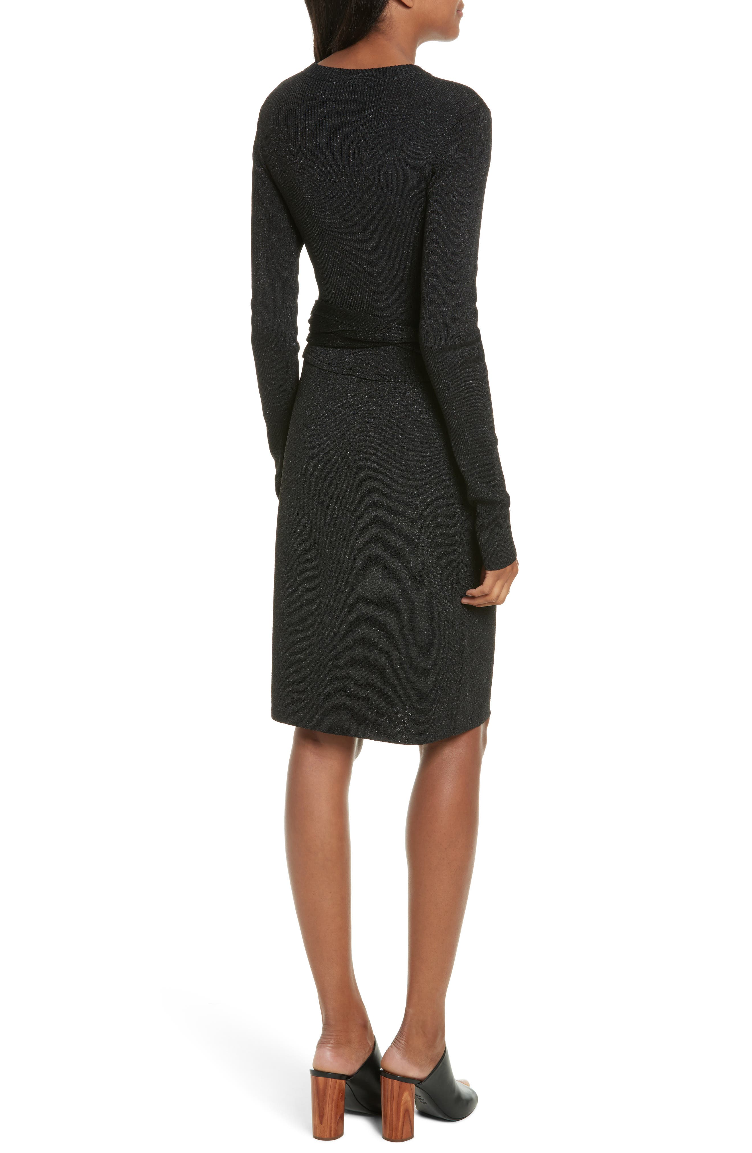 Metallic Tie Waist Dress,                             Alternate thumbnail 2, color,                             Black