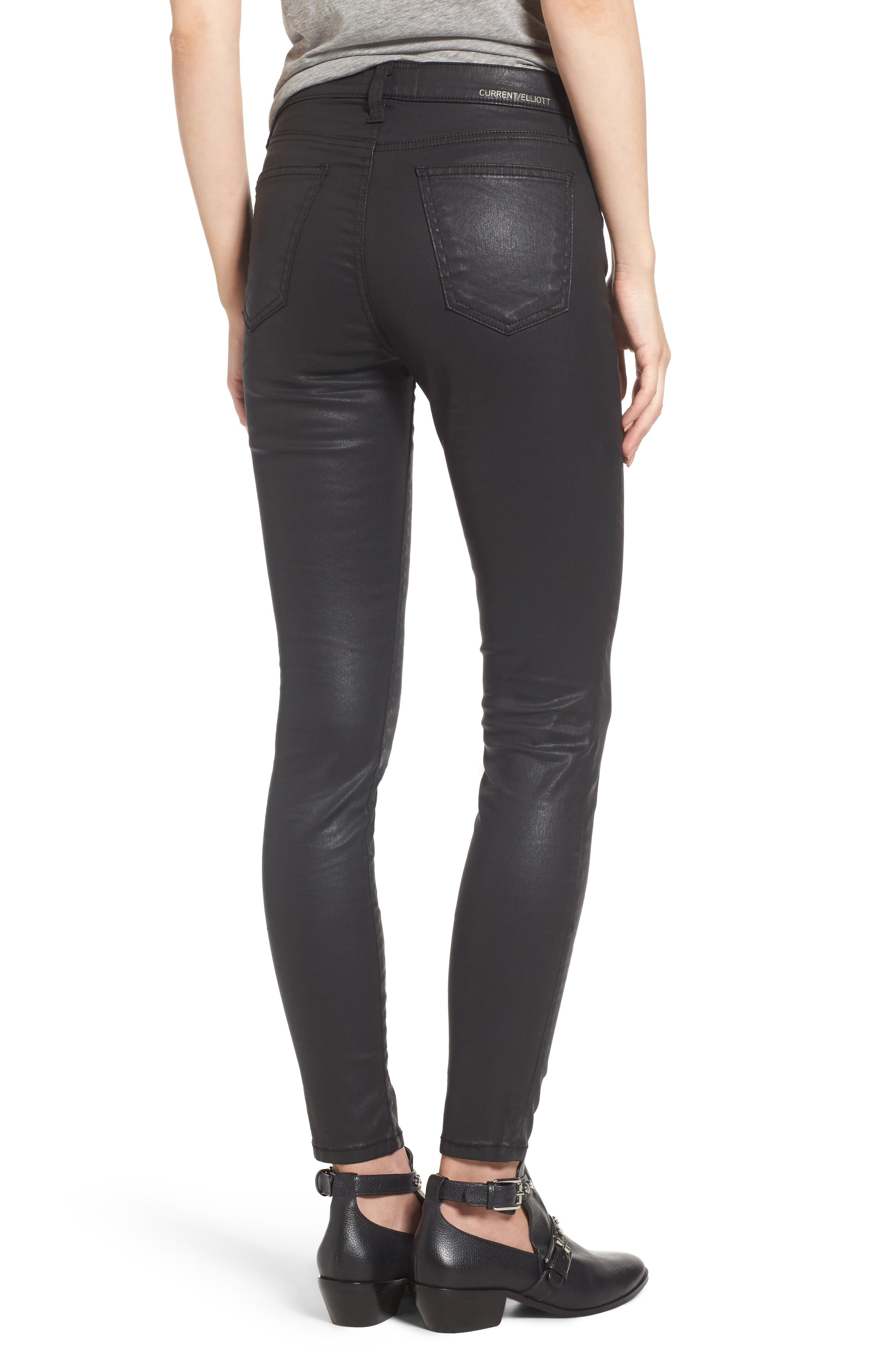 The High Waist Ankle Skinny Jeans,                             Alternate thumbnail 2, color,                             Black Coated