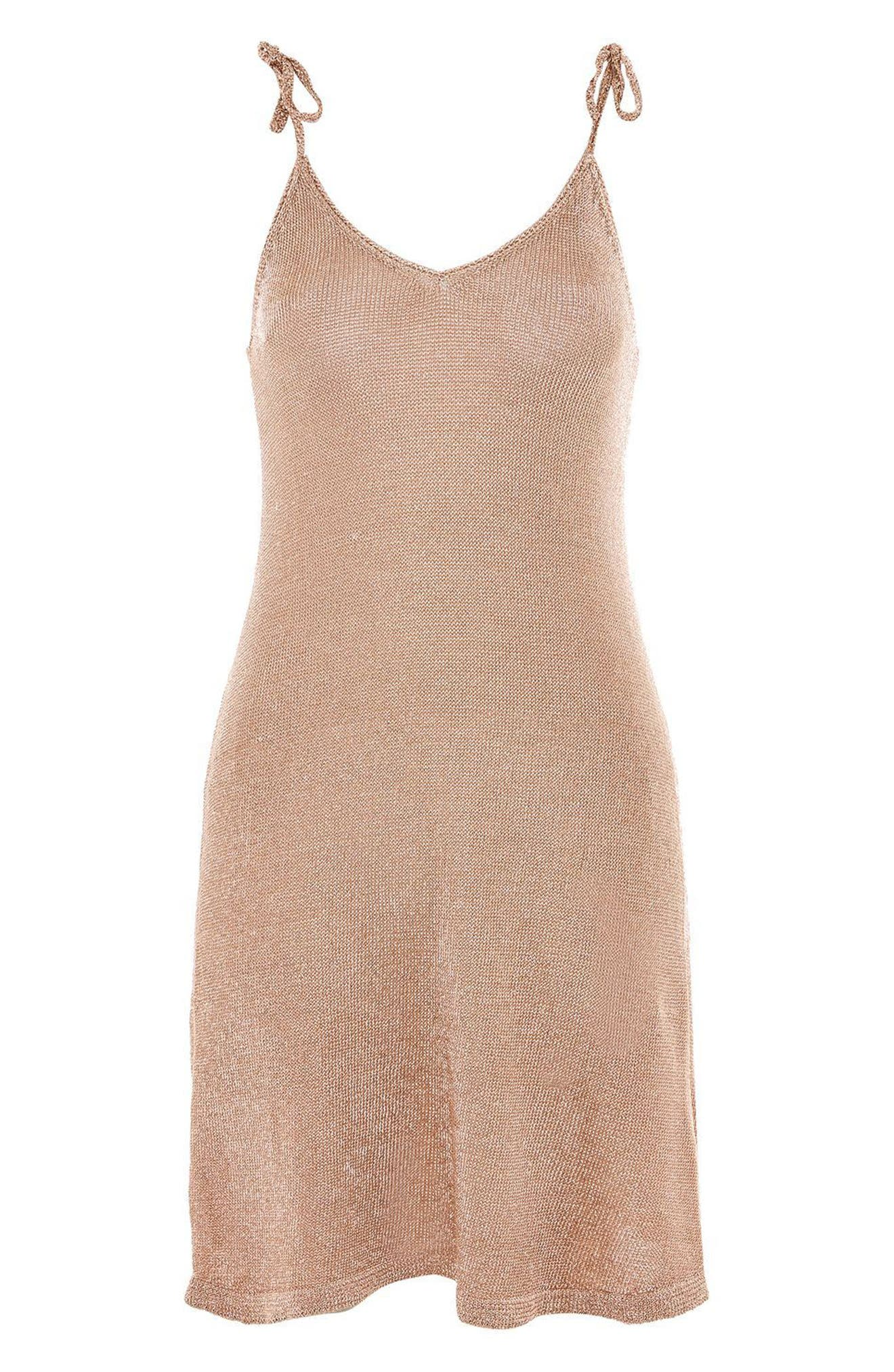 Alternate Image 4  - Topshop Metallic Knit Slipdress