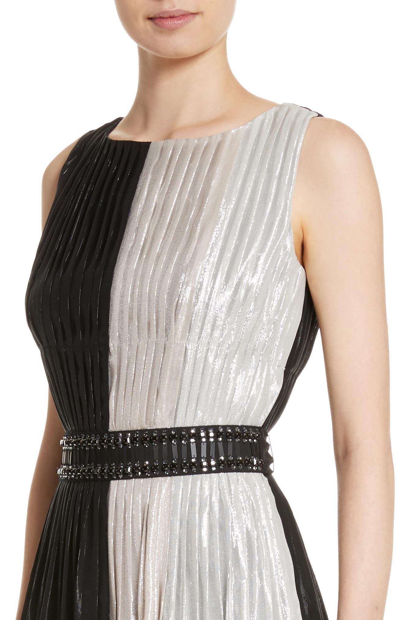 Alternate Image 4  - St. John Collection Pleated Chiffon Midi Dress